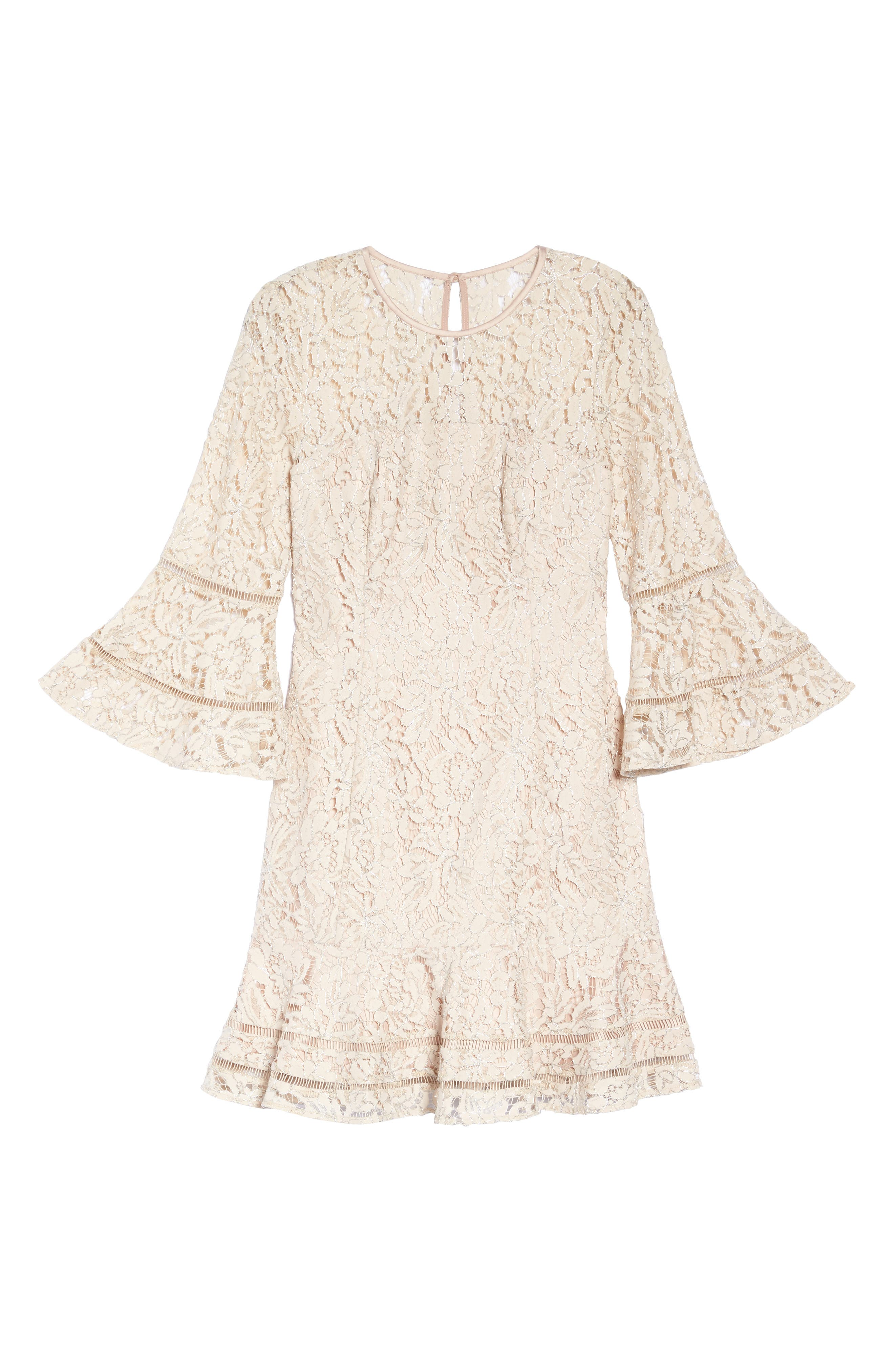 Lace Bell Sleeve Dress,                             Alternate thumbnail 6, color,                             Blush/ Silver