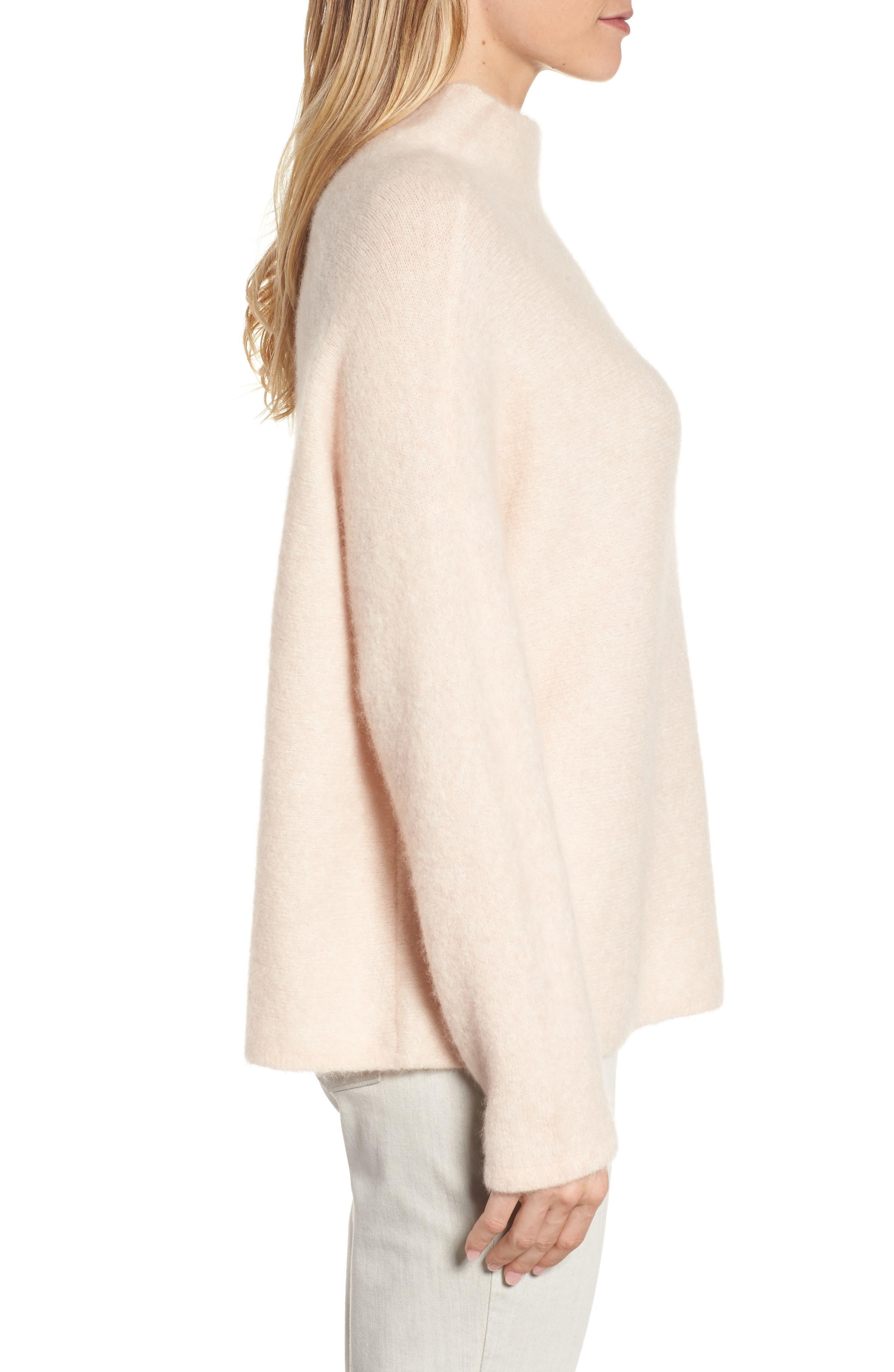 'Bouclé Bliss' Cashmere & Silk Blend Funnel Neck Sweater,                             Alternate thumbnail 3, color,                             Dune