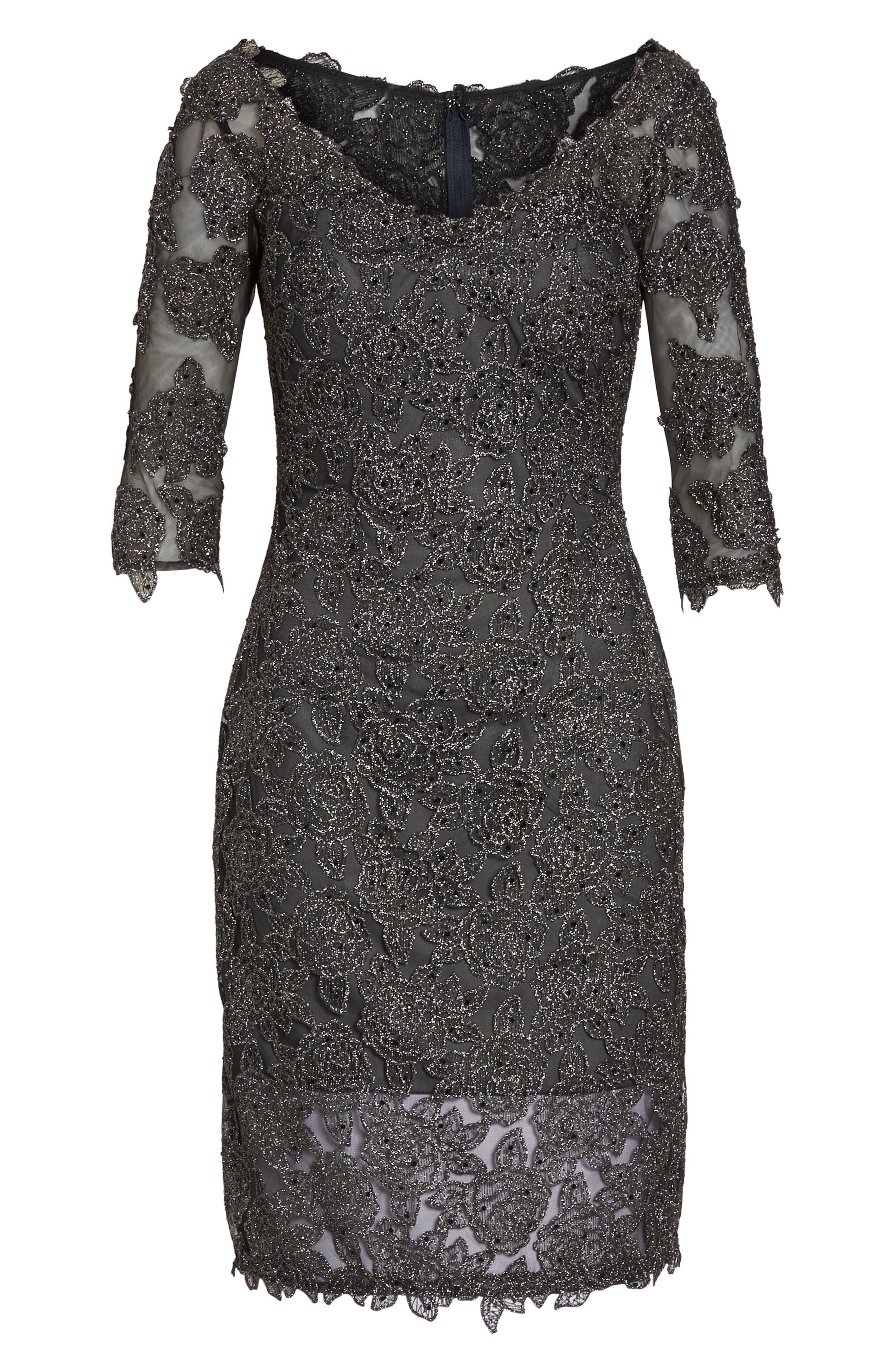 Lace Sheath Dress,                             Alternate thumbnail 6, color,                             Gunmetal