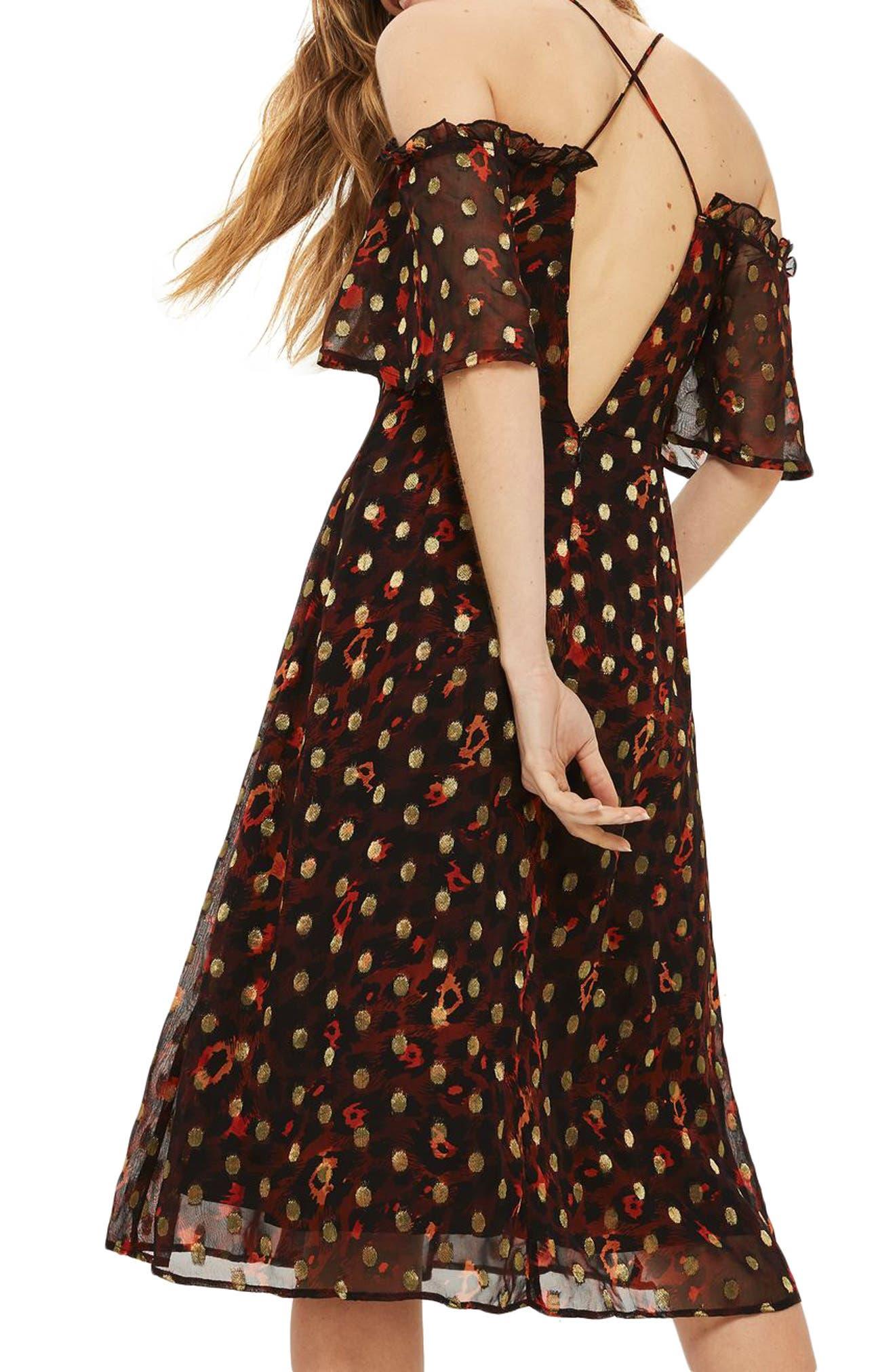 Leopard Polka Dot Cold Shoulder Dress,                             Alternate thumbnail 3, color,                             Red Multi