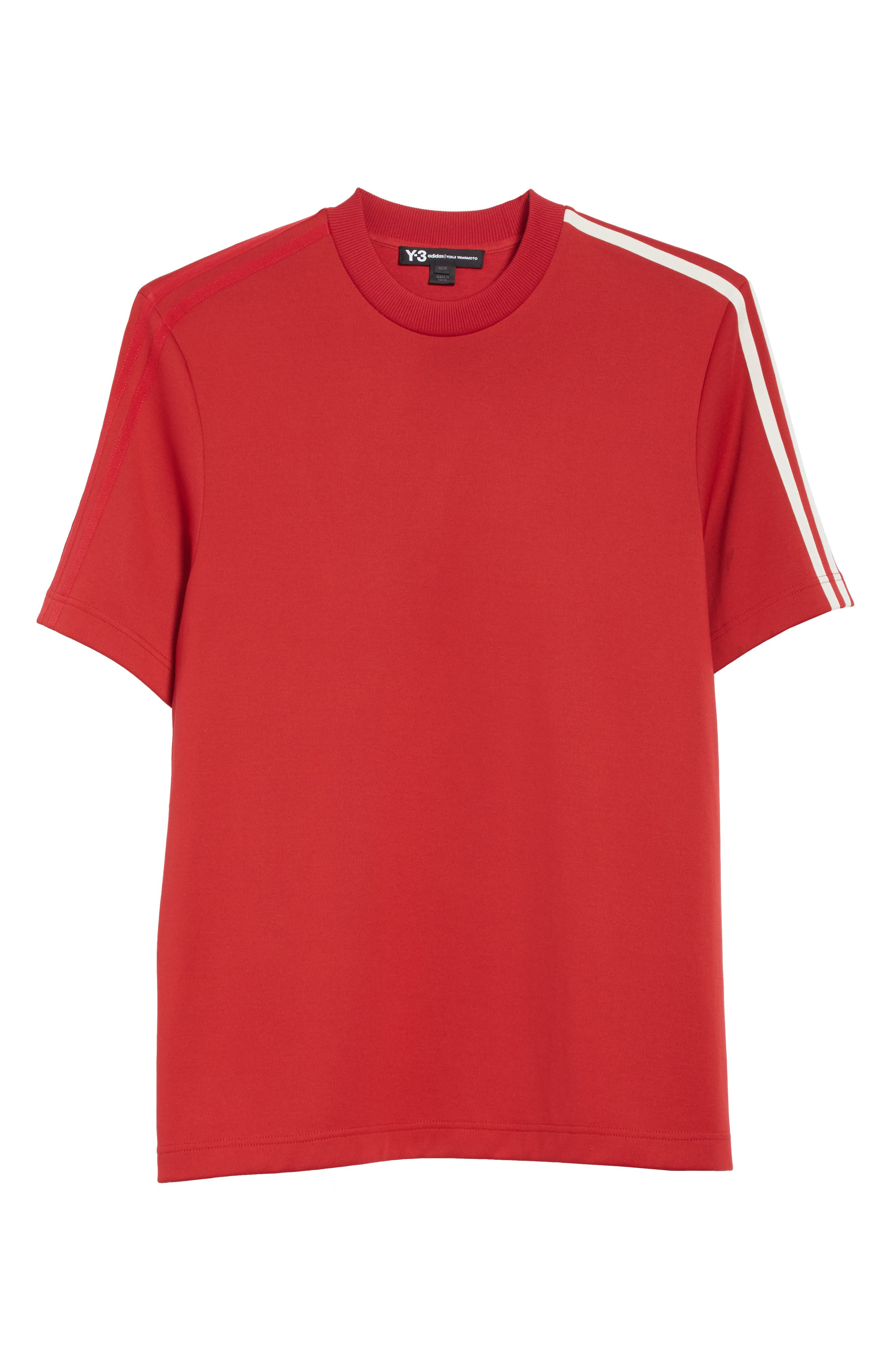 x adidas Stripe Crewneck T-Shirt,                             Alternate thumbnail 6, color,                             Red