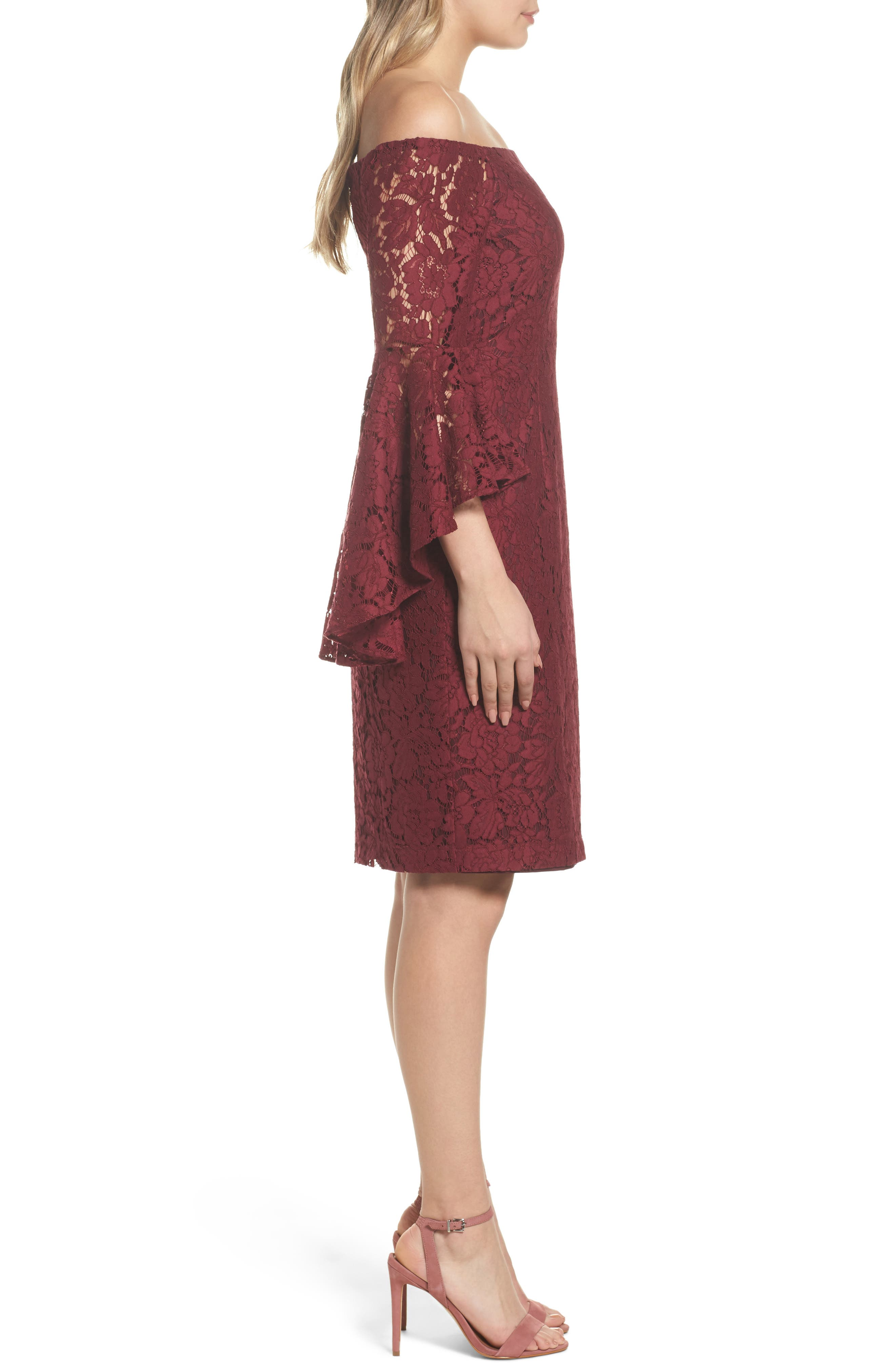 Off the Shoulder Lace Dress,                             Alternate thumbnail 3, color,                             Burgundy London