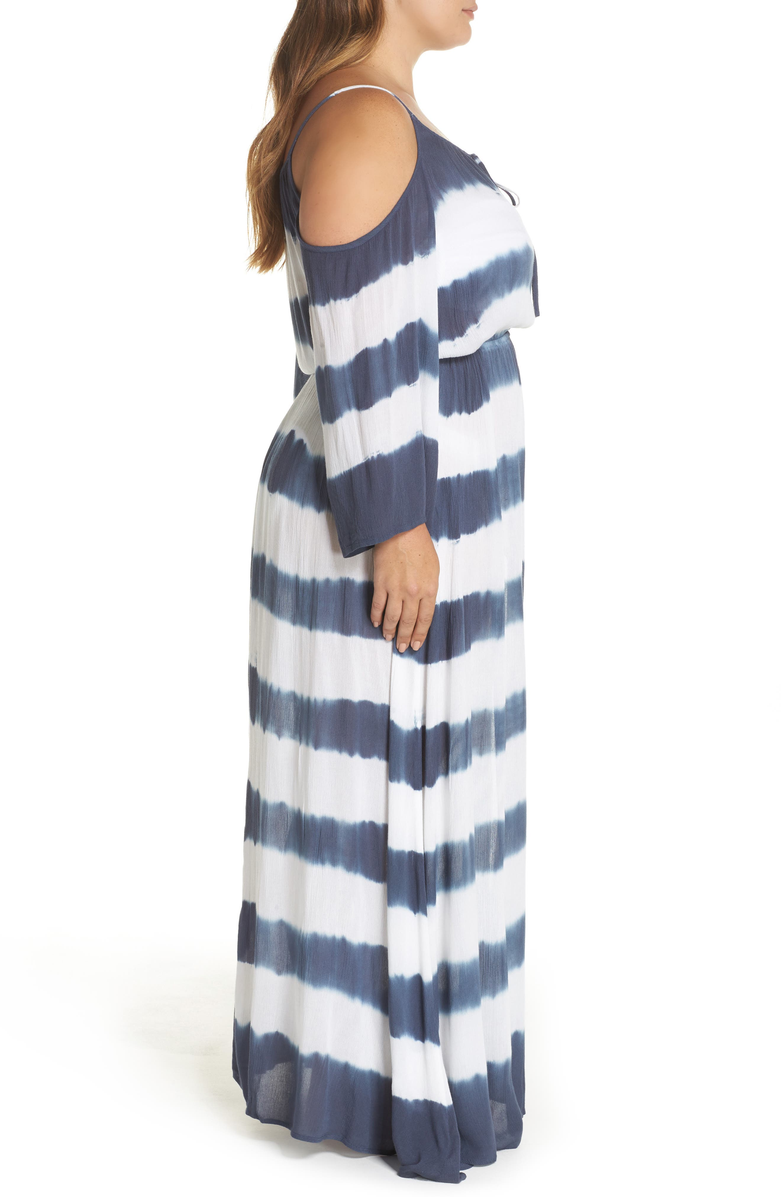 Cold Shoulder Cover-Up Maxi Dress,                             Alternate thumbnail 3, color,                             Td Indigo/ White