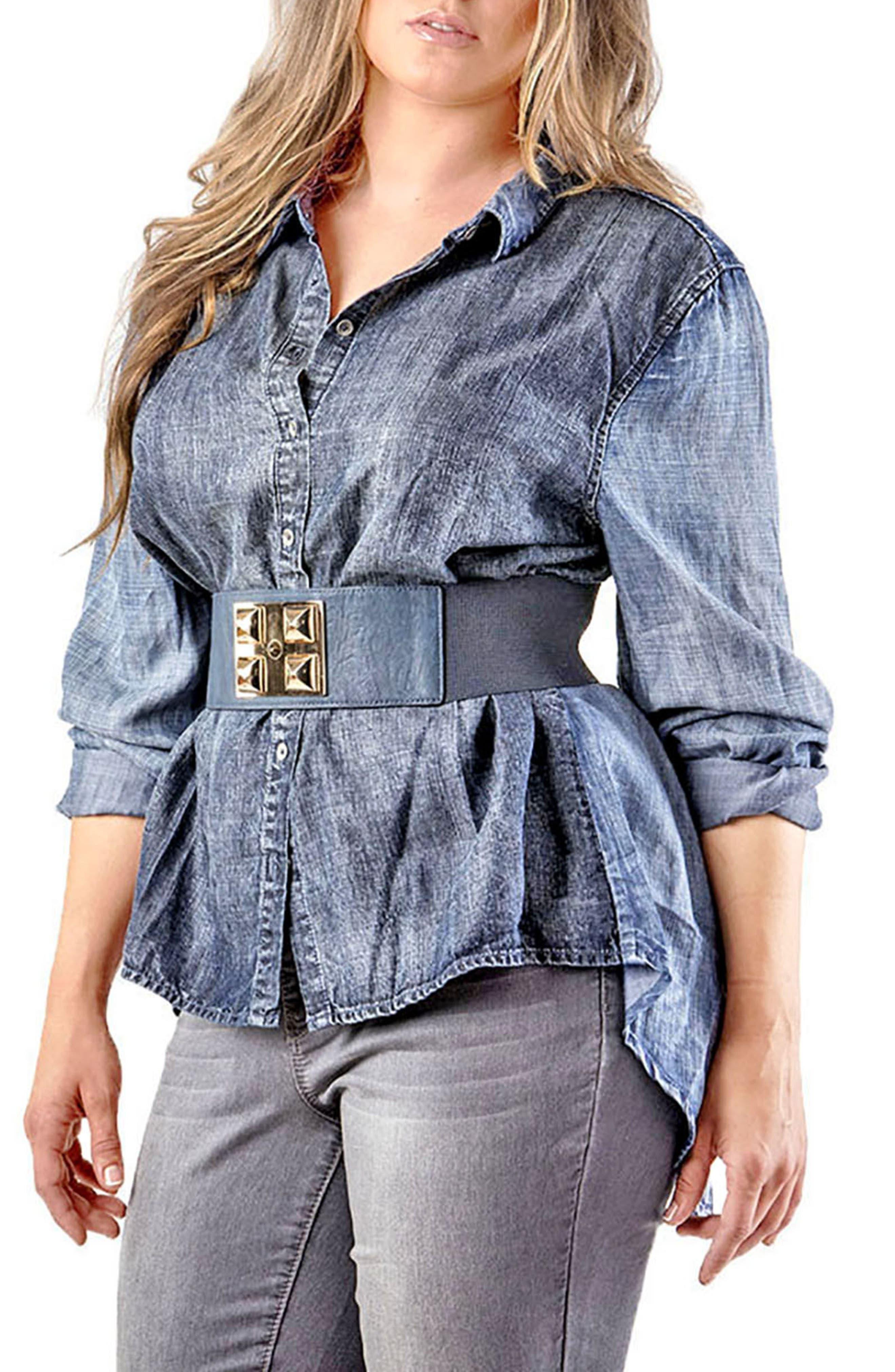 Main Image - Standards & Practices Kristine Tencel® Denim Shirt (Plus Size)