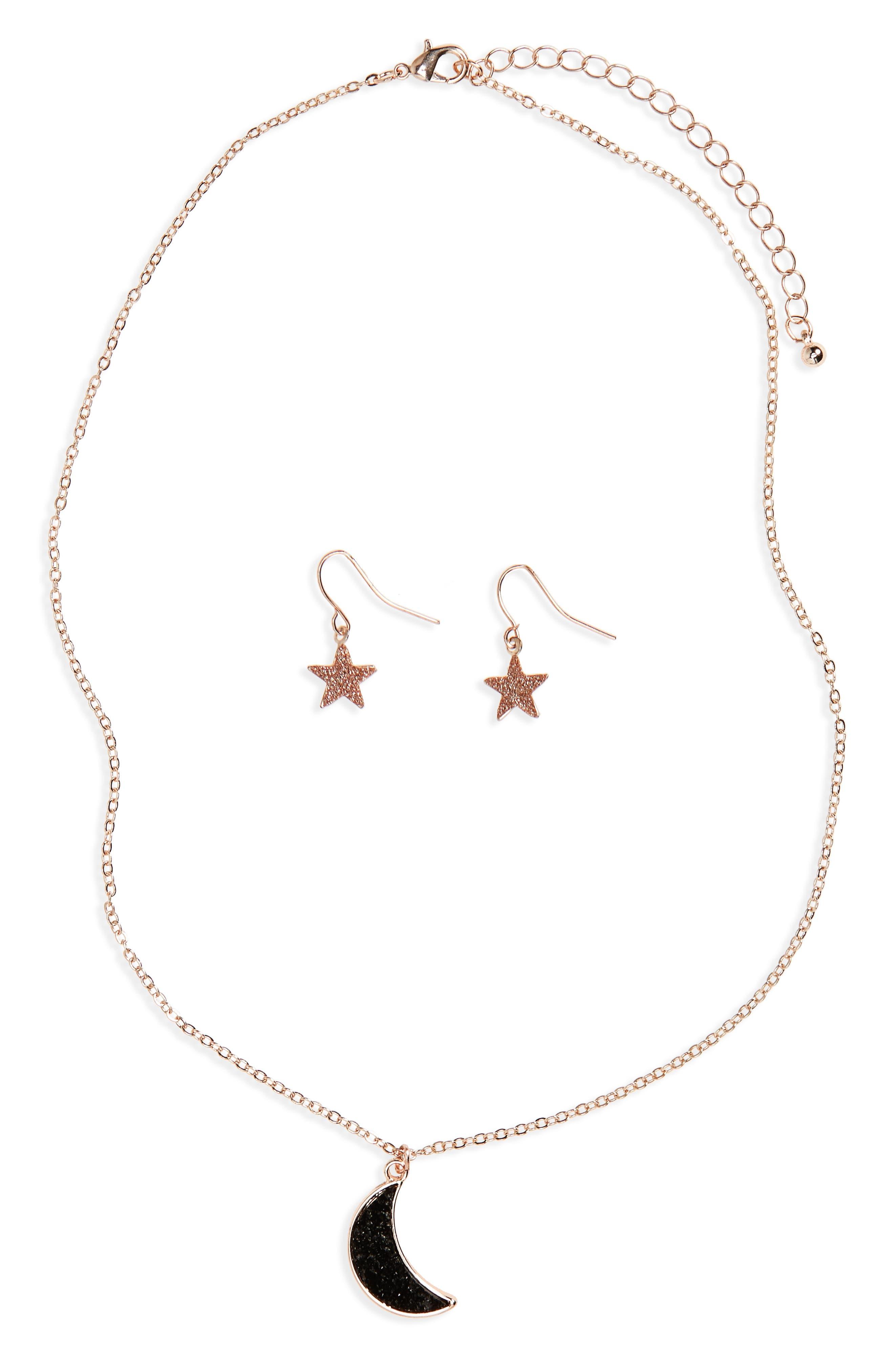 Wonderland Moon Necklace & Star Earrings Set,                         Main,                         color, Gold