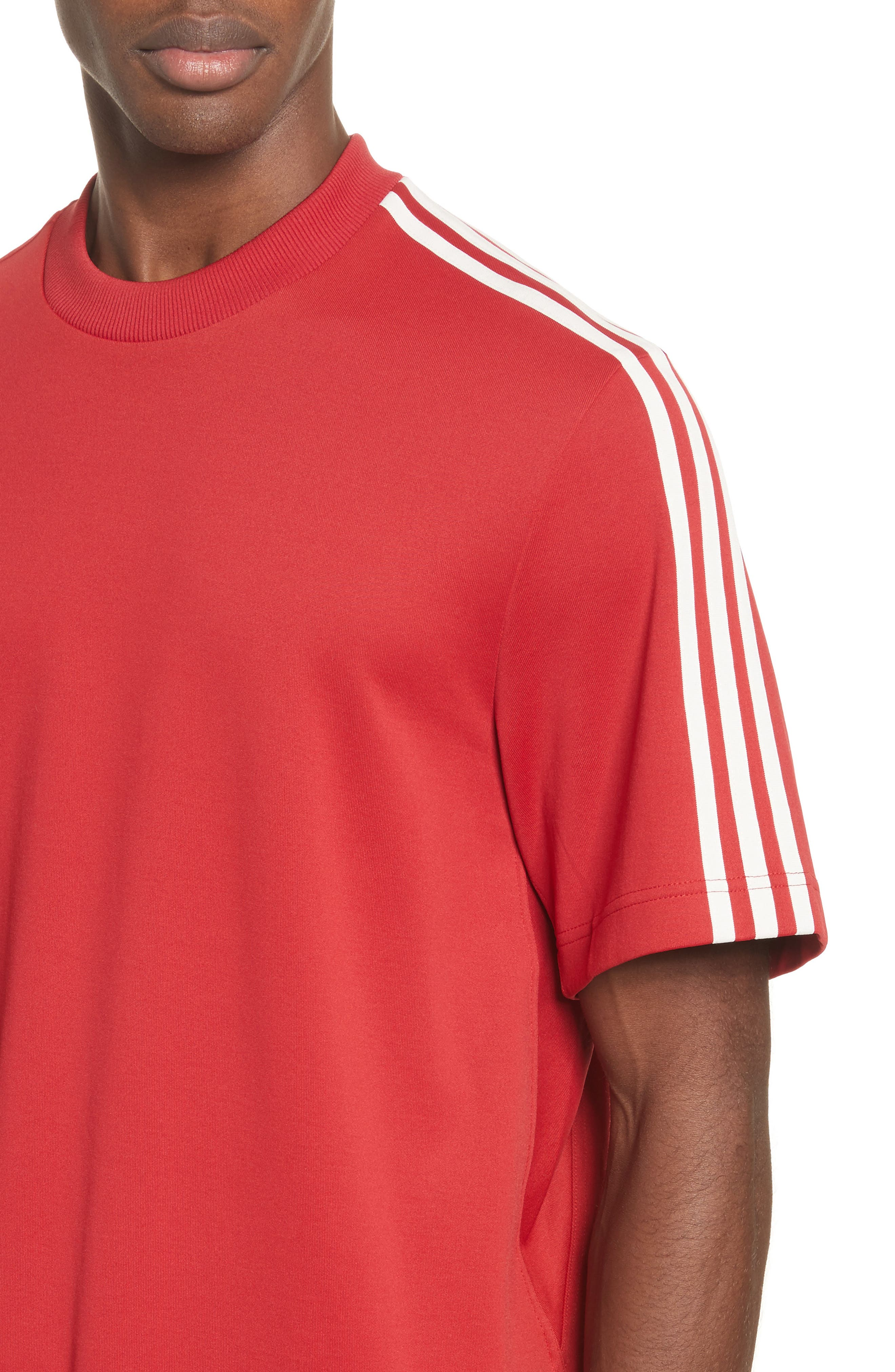 x adidas Stripe Crewneck T-Shirt,                             Alternate thumbnail 4, color,                             Red