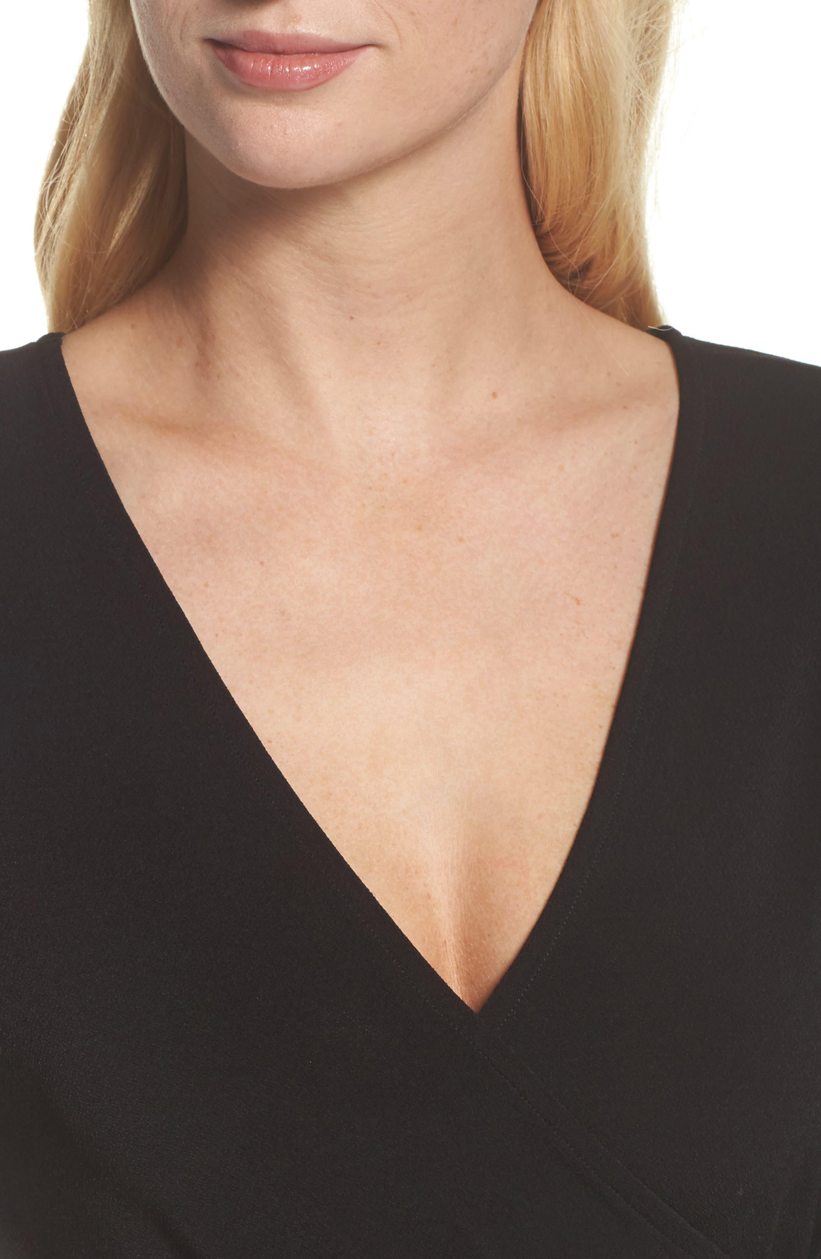 Perfect Wrap Maxi Dress,                             Alternate thumbnail 4, color,                             Black Crepe