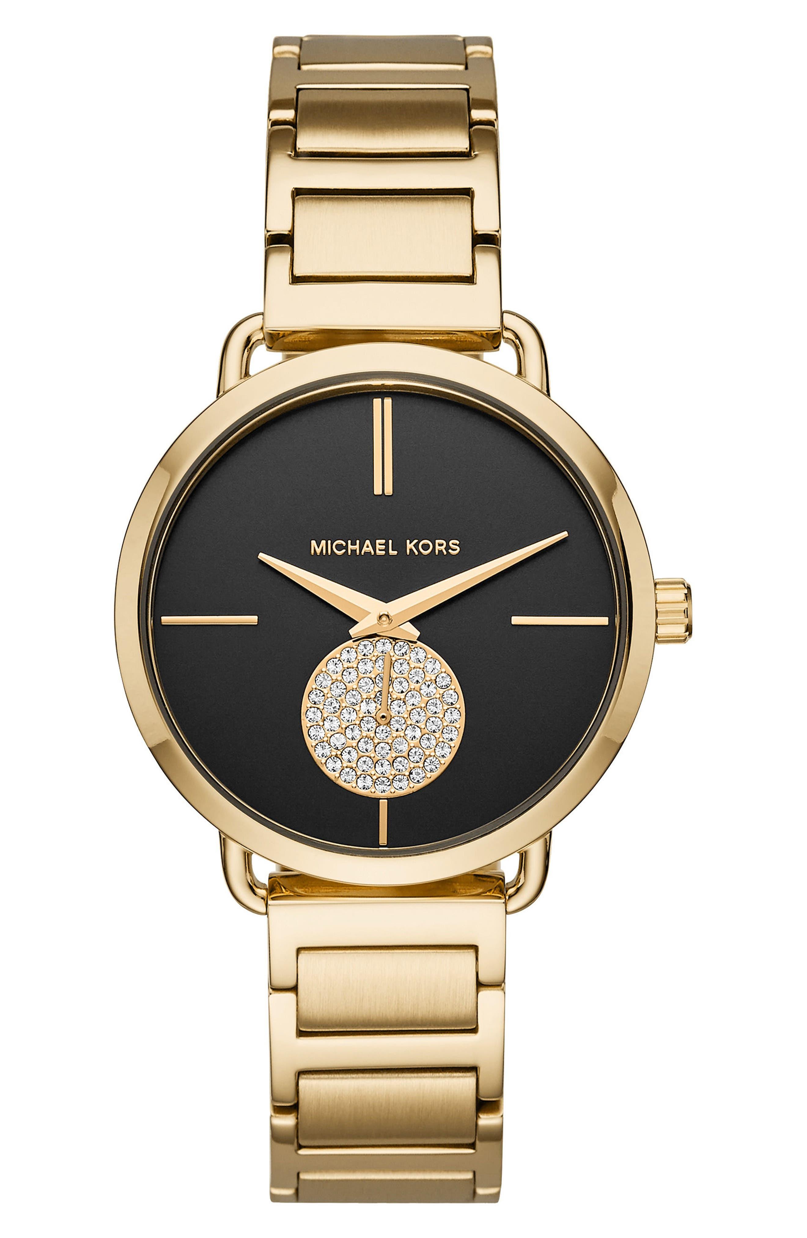 Portia Round Bracelet Watch, 36.5mm,                         Main,                         color, Gold/ Black/ Gold