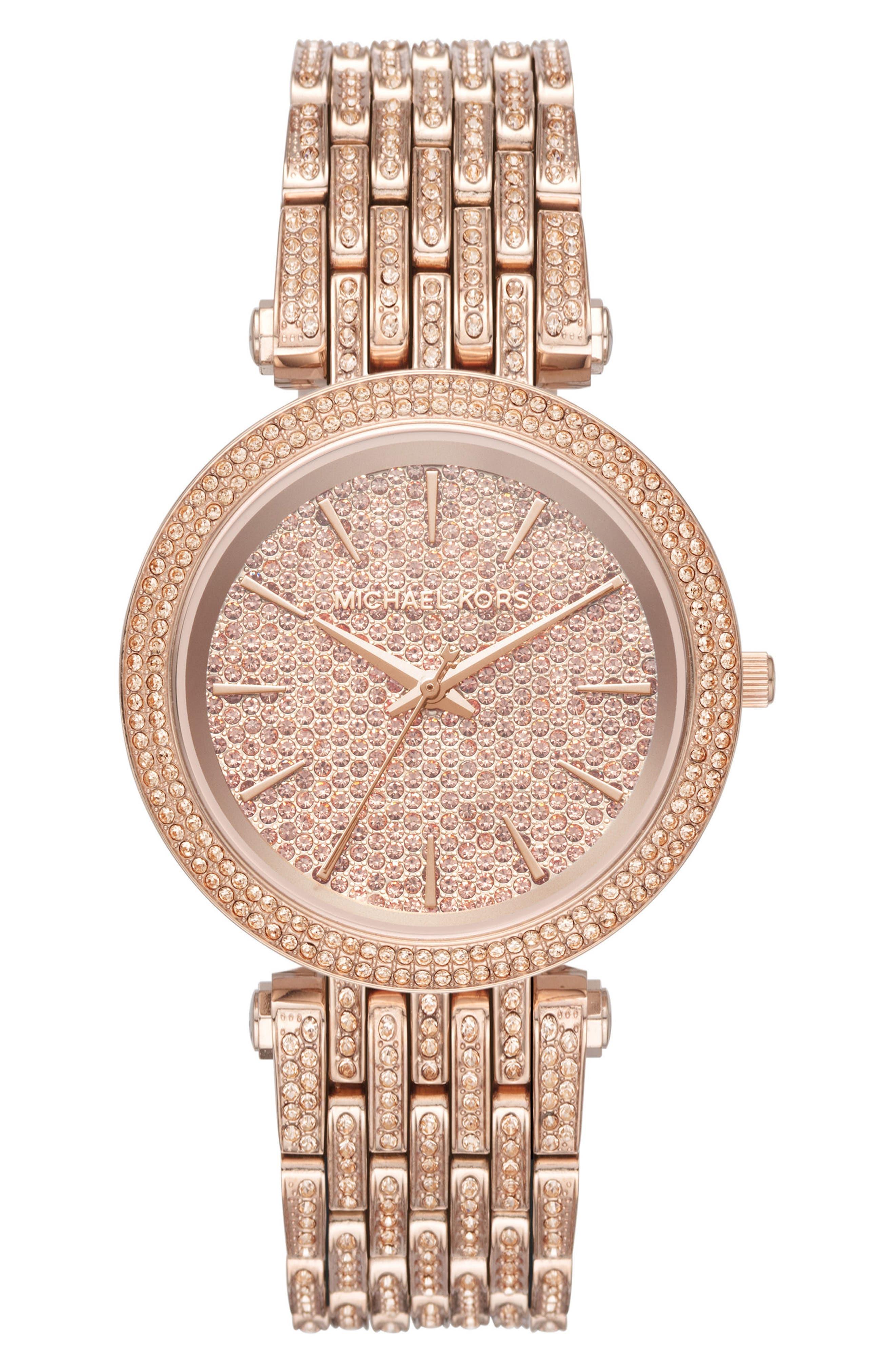 Darci Crystal Bezel Braclet Watch, 39mm,                         Main,                         color, Rose Gold