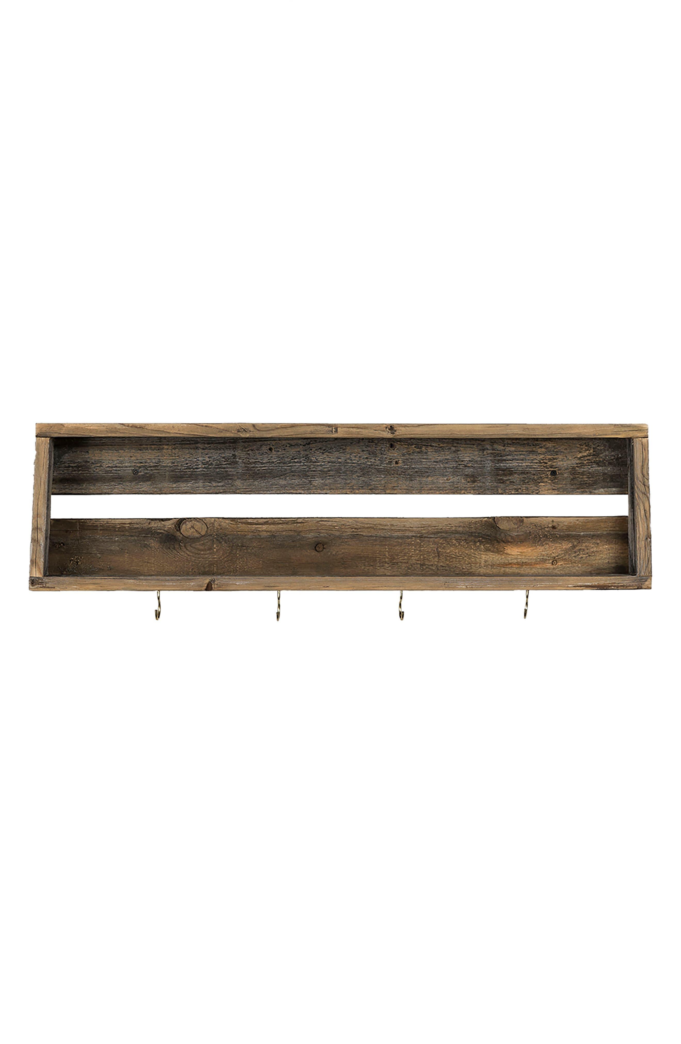 Repurposed Wood Shelf with Hooks,                             Main thumbnail 1, color,                             Barnwood