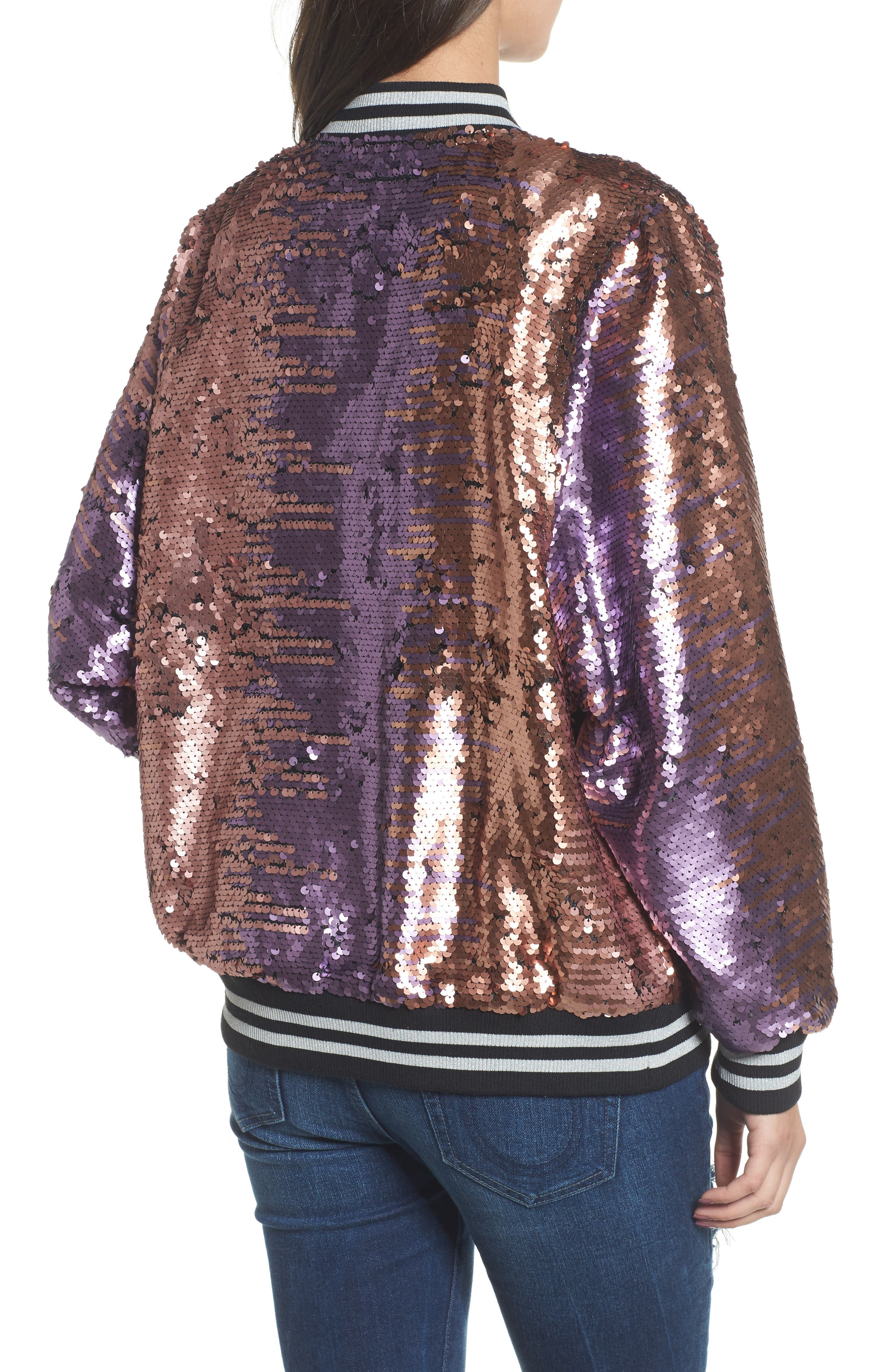 Pailette Bomber Jacket,                             Alternate thumbnail 4, color,                             Blush Purple