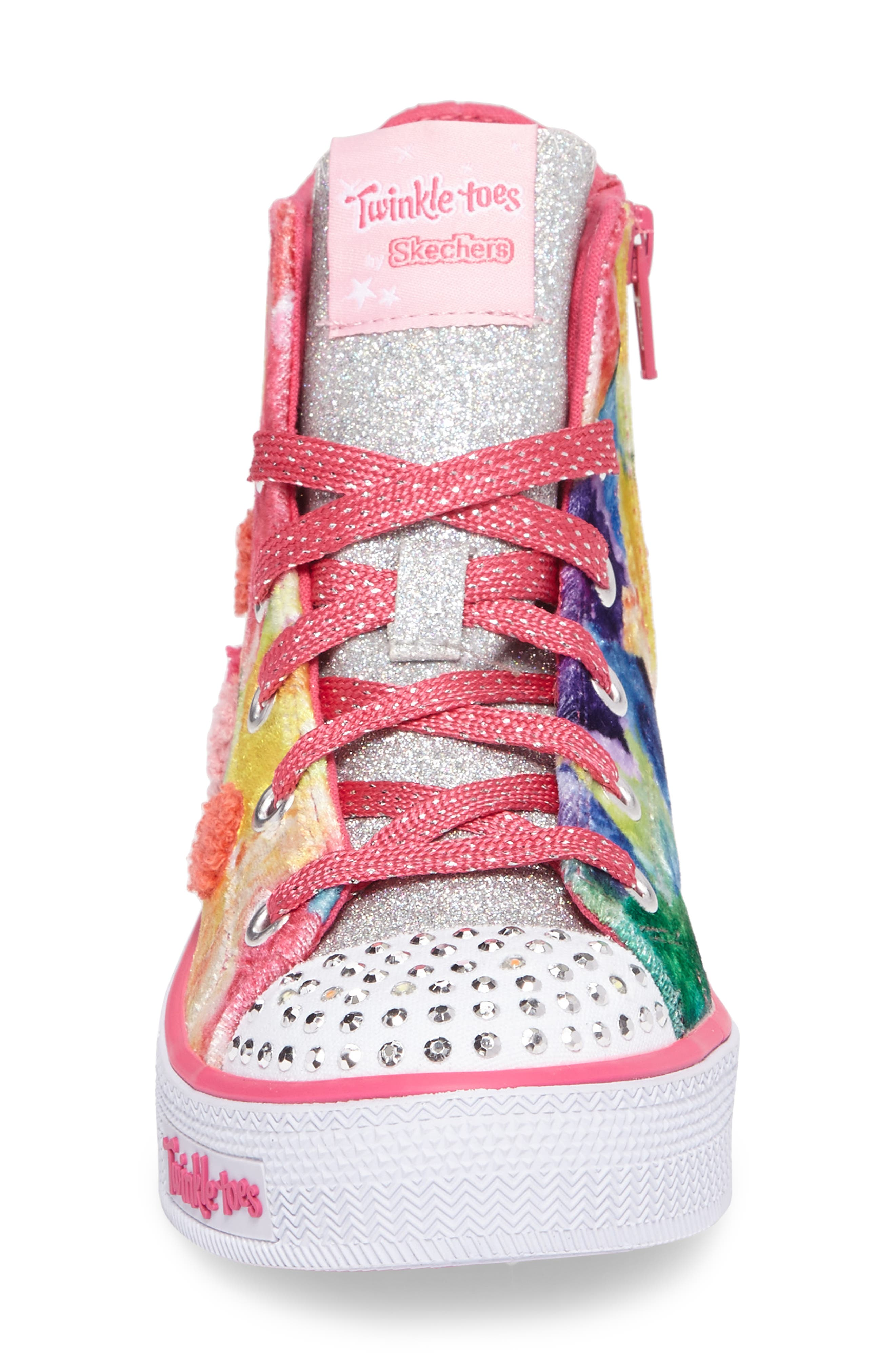 Twinkle Toes Shuffles Light-Up High Top Sneaker,                             Alternate thumbnail 4, color,                             Hot Pink/ Multi