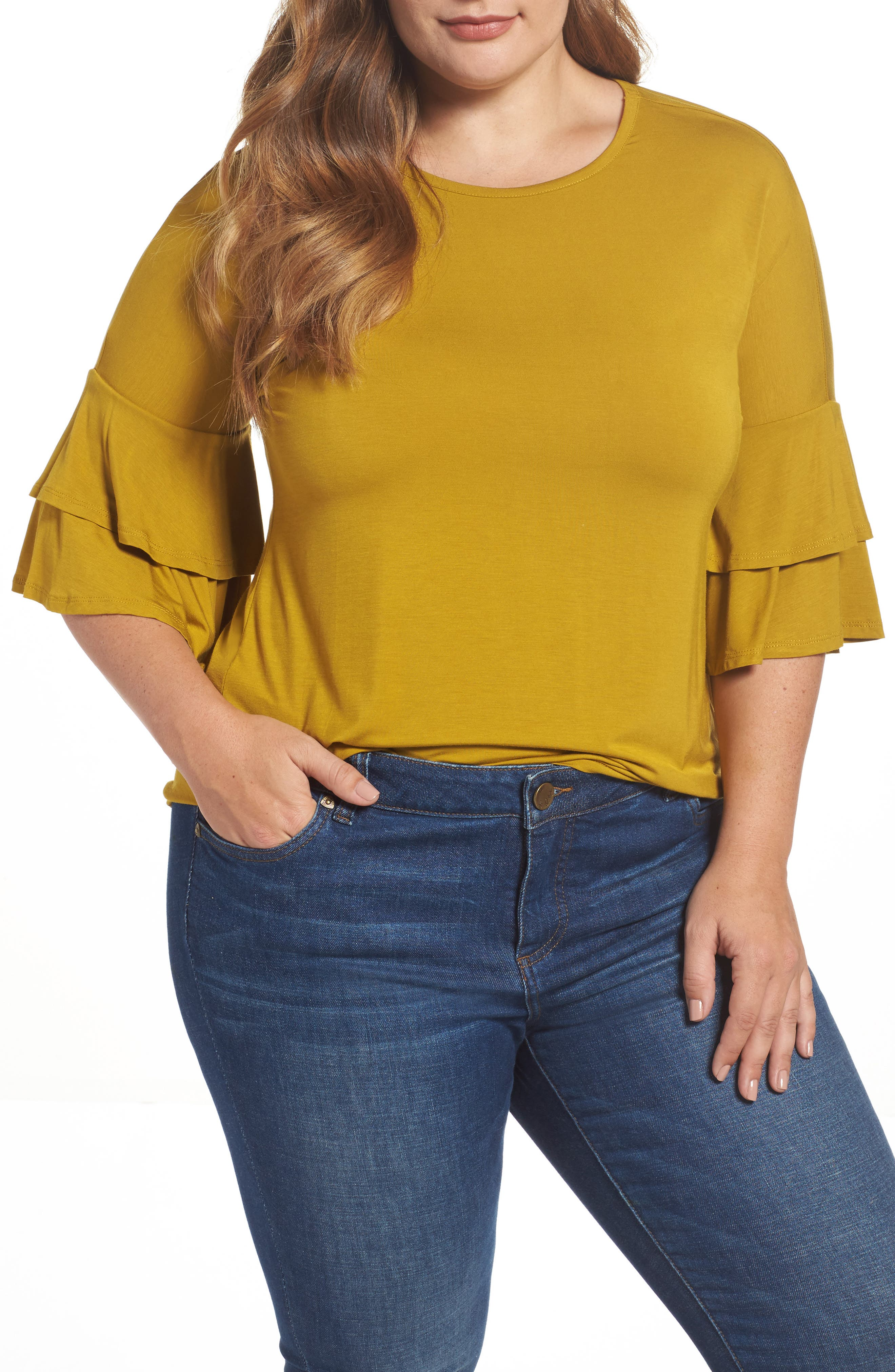 Double Ruffle Sleeve Top,                         Main,                         color, Olive Light