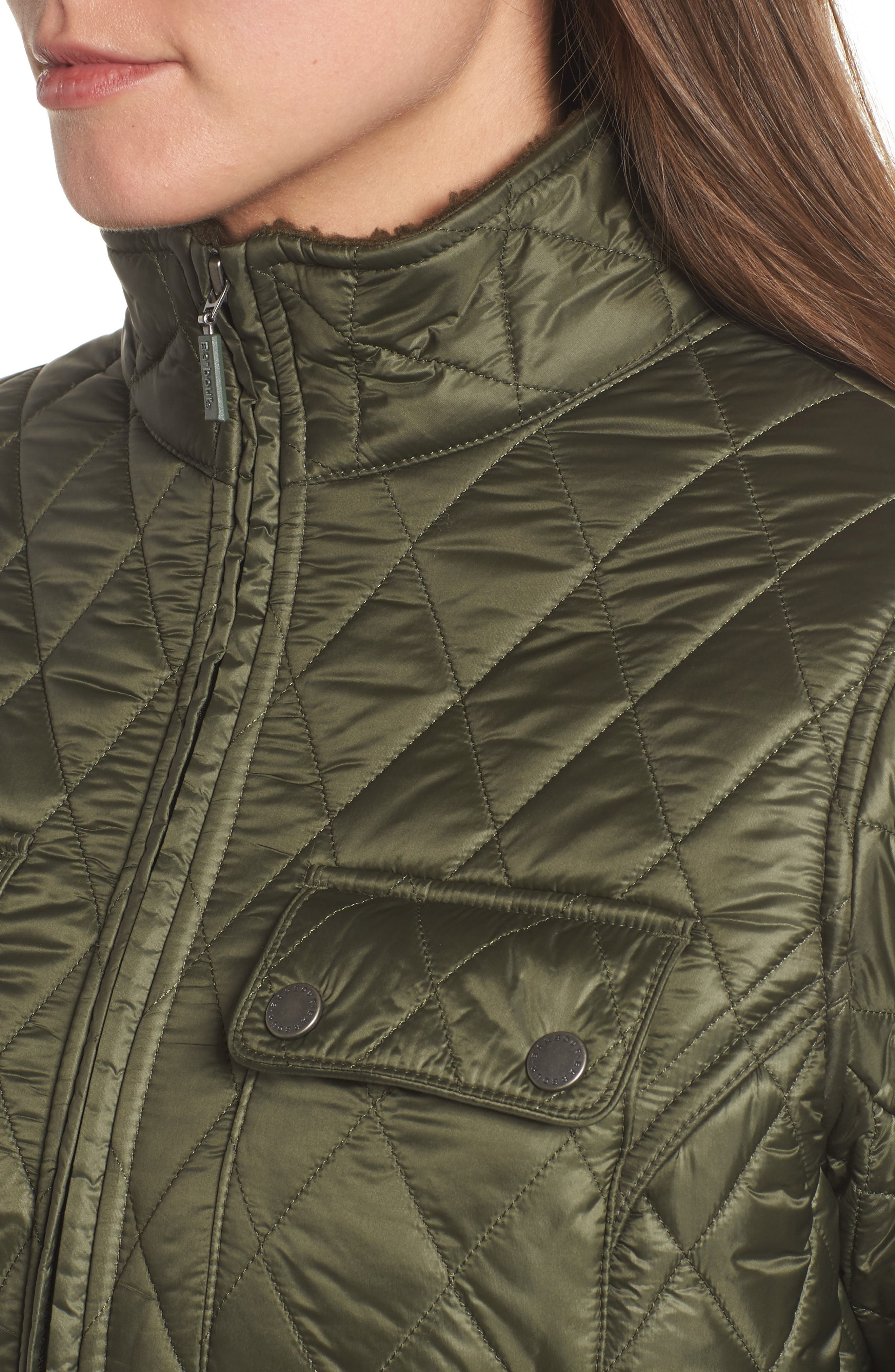 Filey Water Resistant Quilted Jacket,                             Alternate thumbnail 4, color,                             Olive