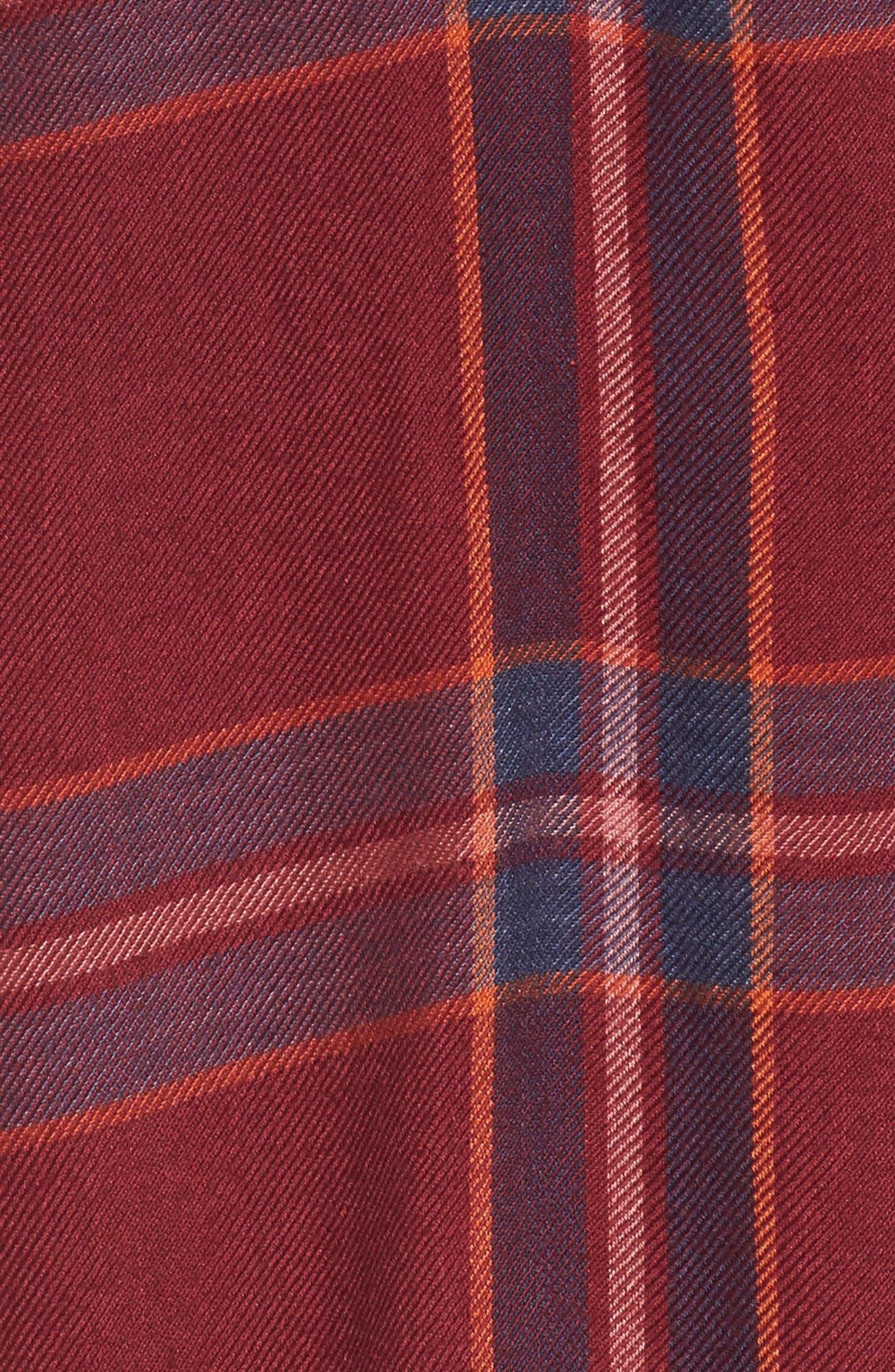 Plaid Popover Shirt,                             Alternate thumbnail 5, color,                             Red Multi
