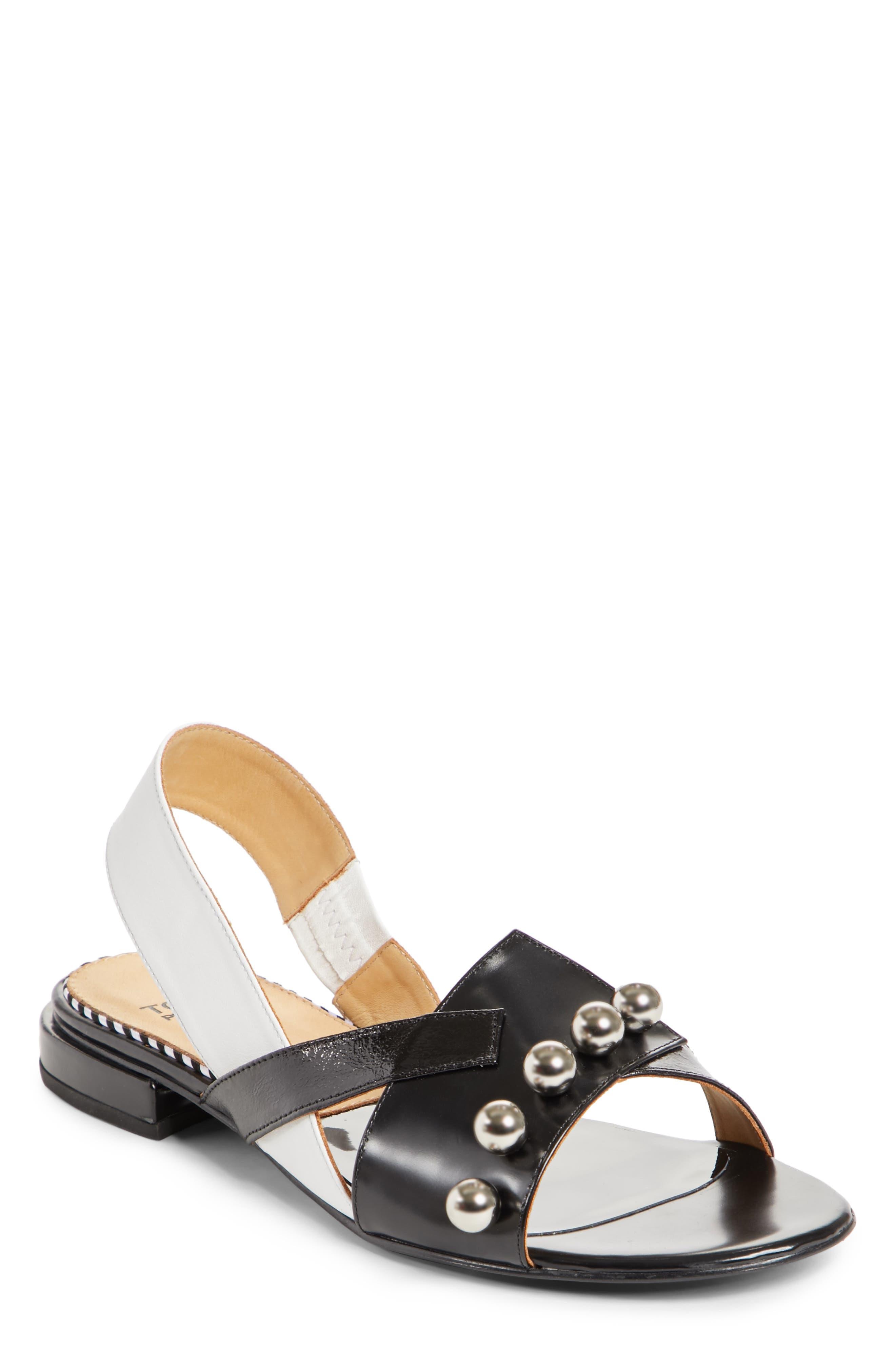 Embellished Colorblock Slingback Sandal,                             Main thumbnail 1, color,                             Black Mix