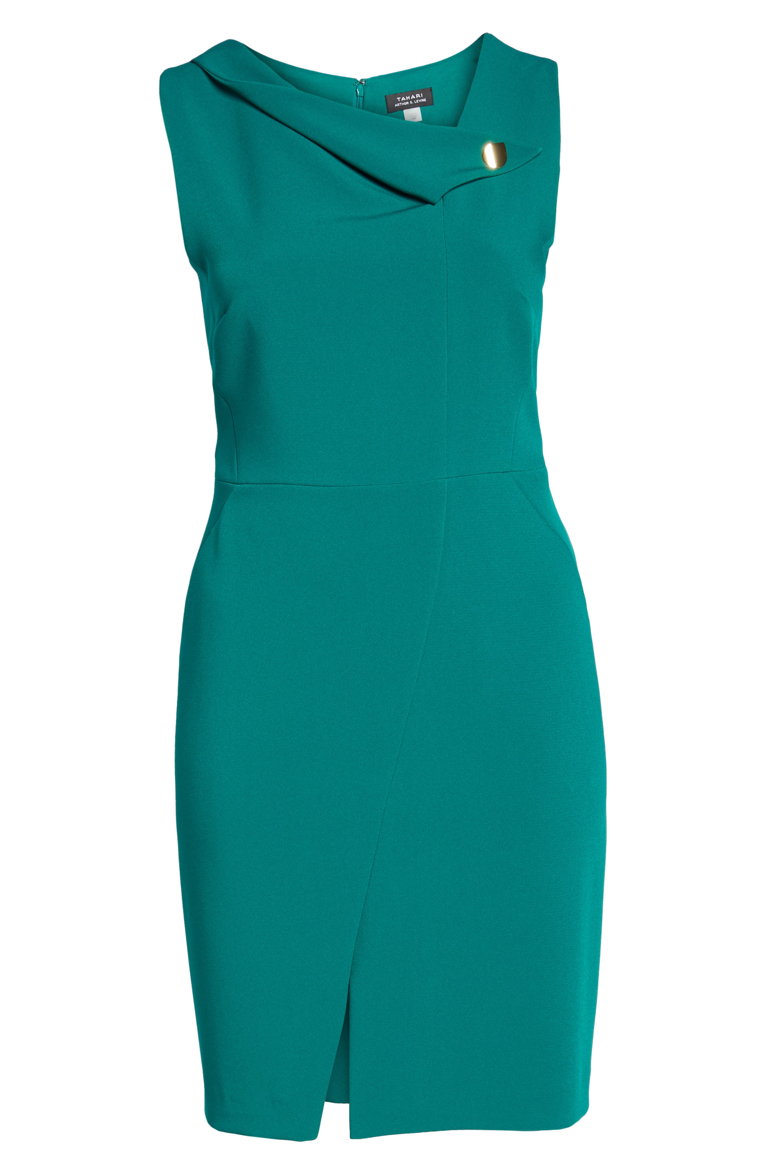 Envelope Neck with Button Sheath Dress,                             Alternate thumbnail 6, color,                             Emerald