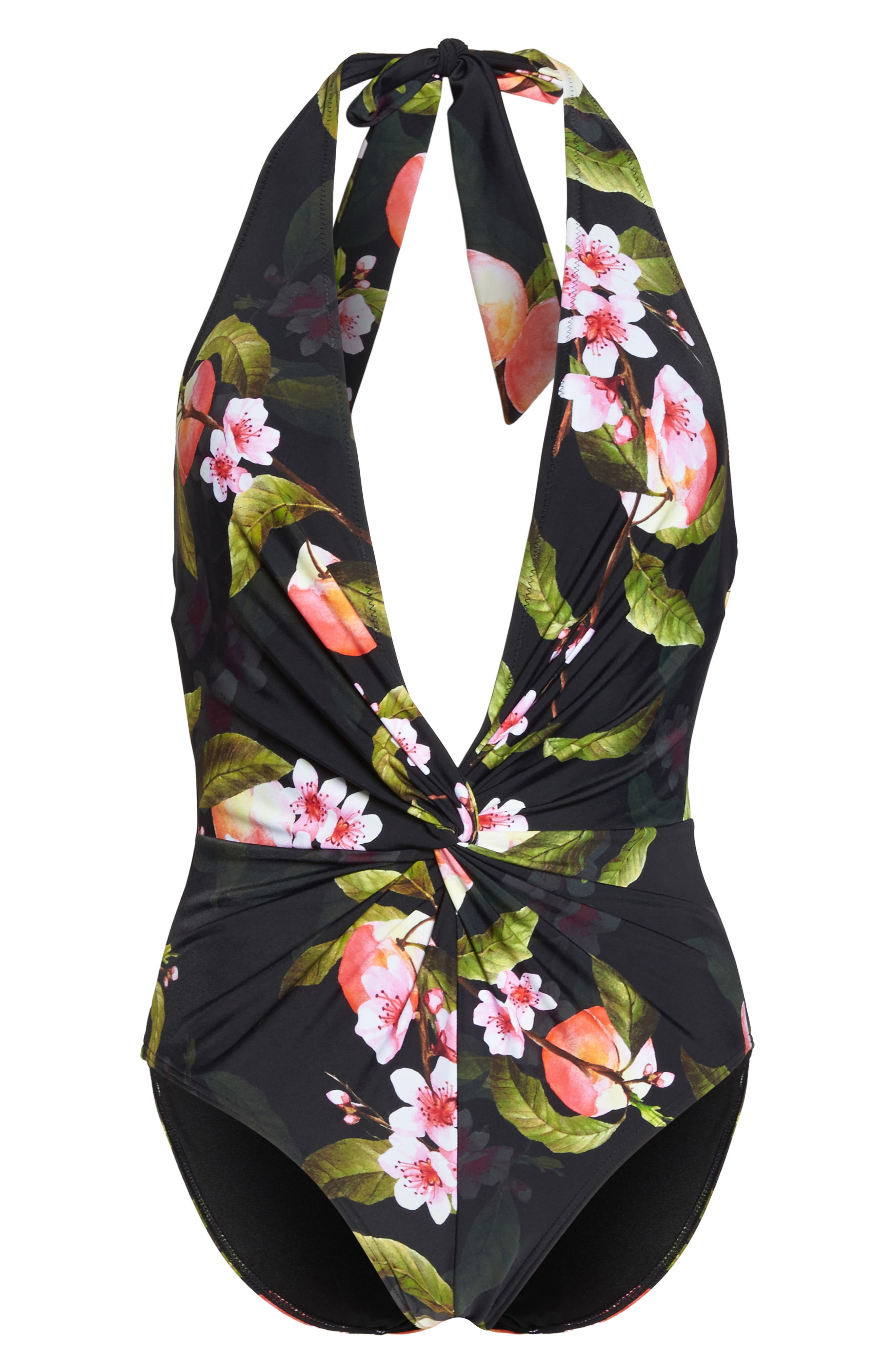 Cherry Blossom Twist One-Piece Swimsuit,                             Alternate thumbnail 6, color,                             Black