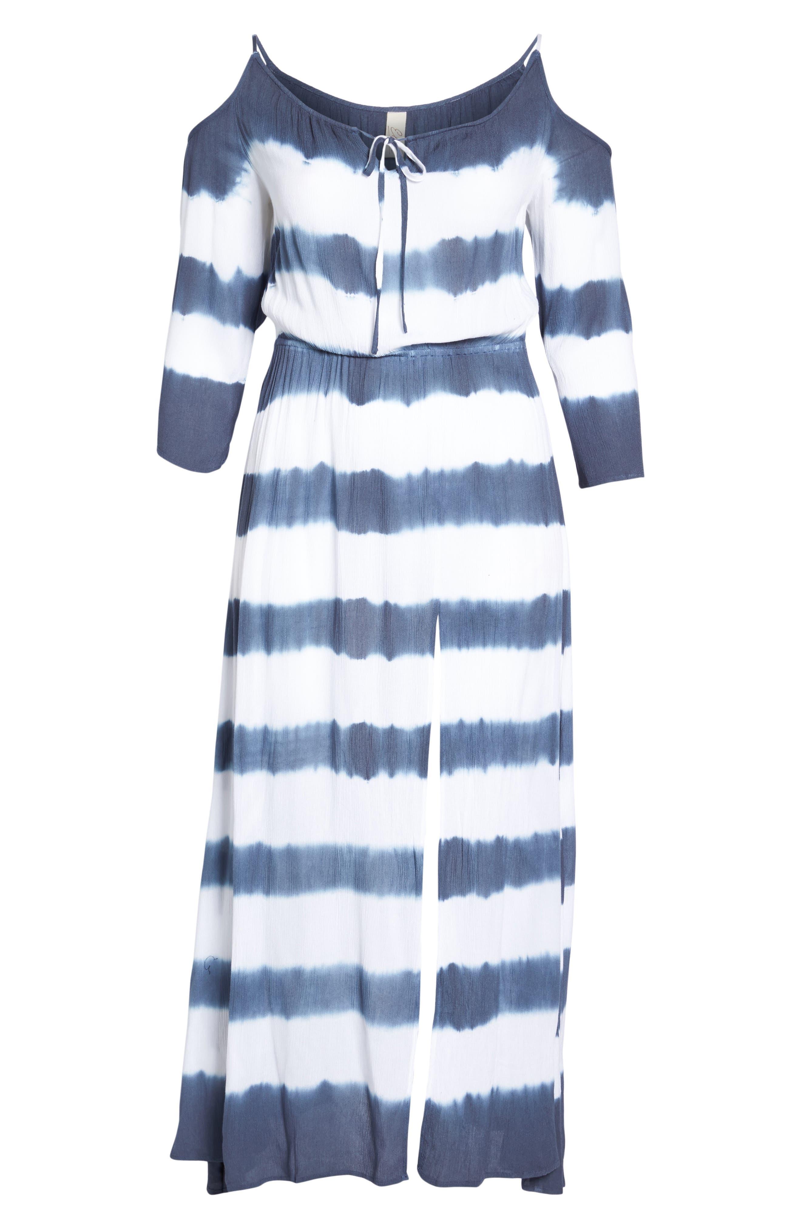 Cold Shoulder Cover-Up Maxi Dress,                             Alternate thumbnail 6, color,                             Td Indigo/ White