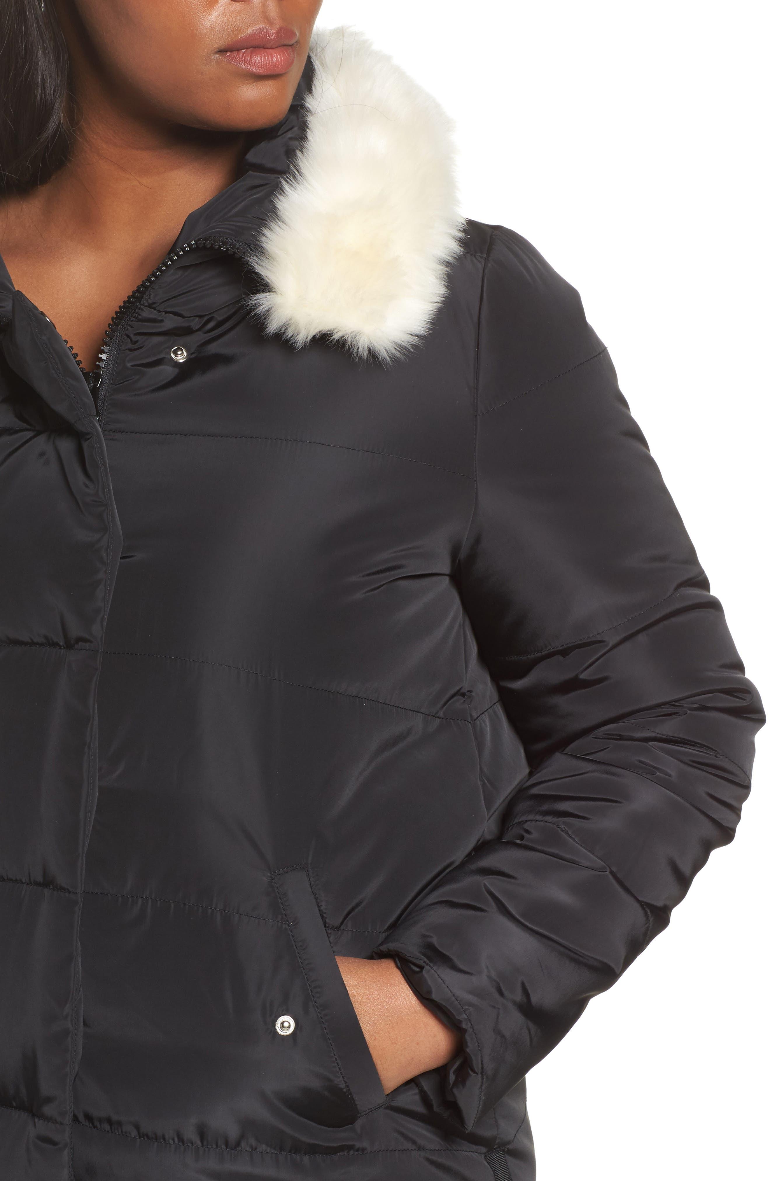 Puffer Coat with Faux Fur Trim,                             Alternate thumbnail 4, color,                             Black