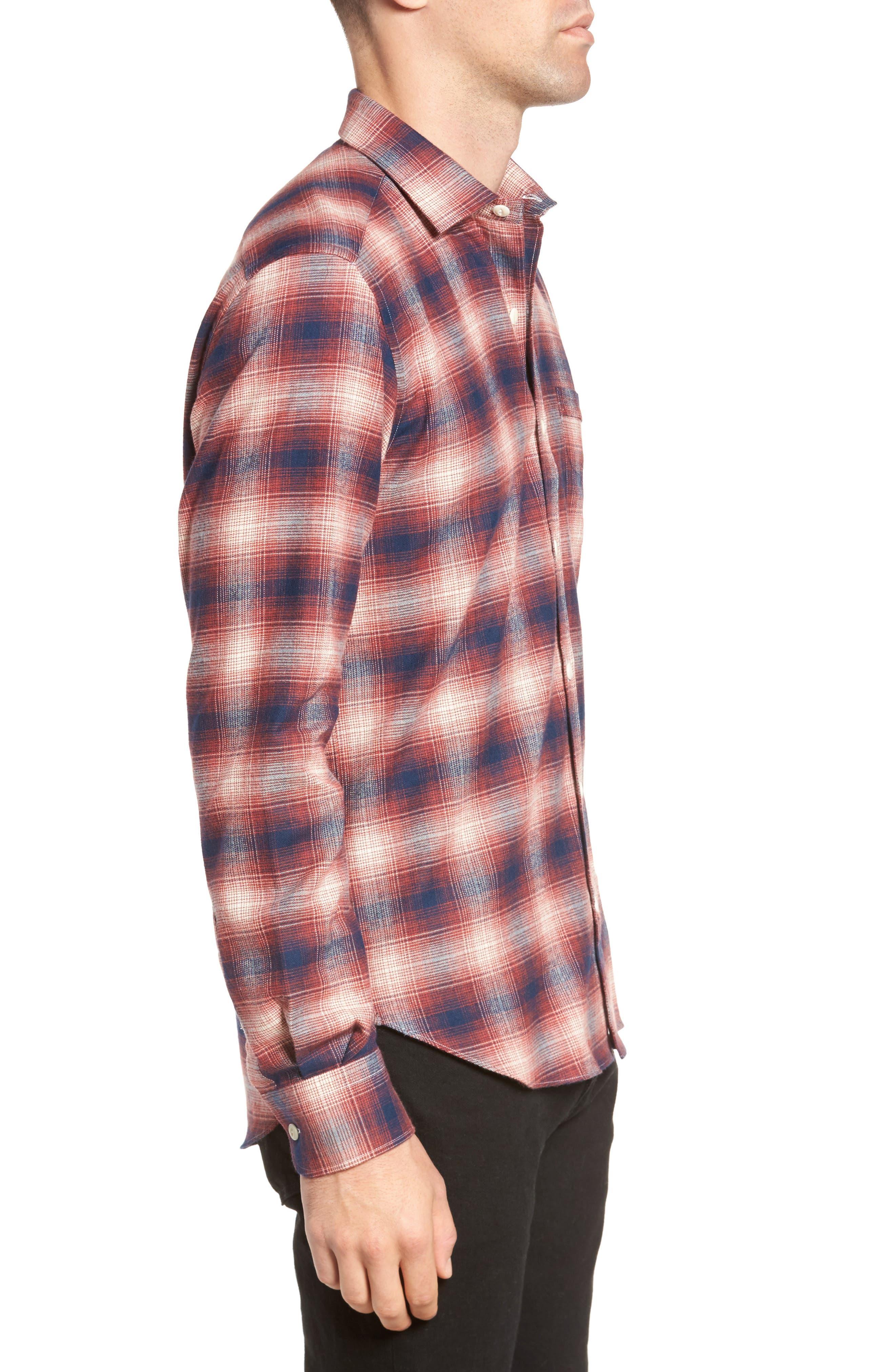 Ombré Plaid Flannel Sport Shirt,                             Alternate thumbnail 3, color,                             Red