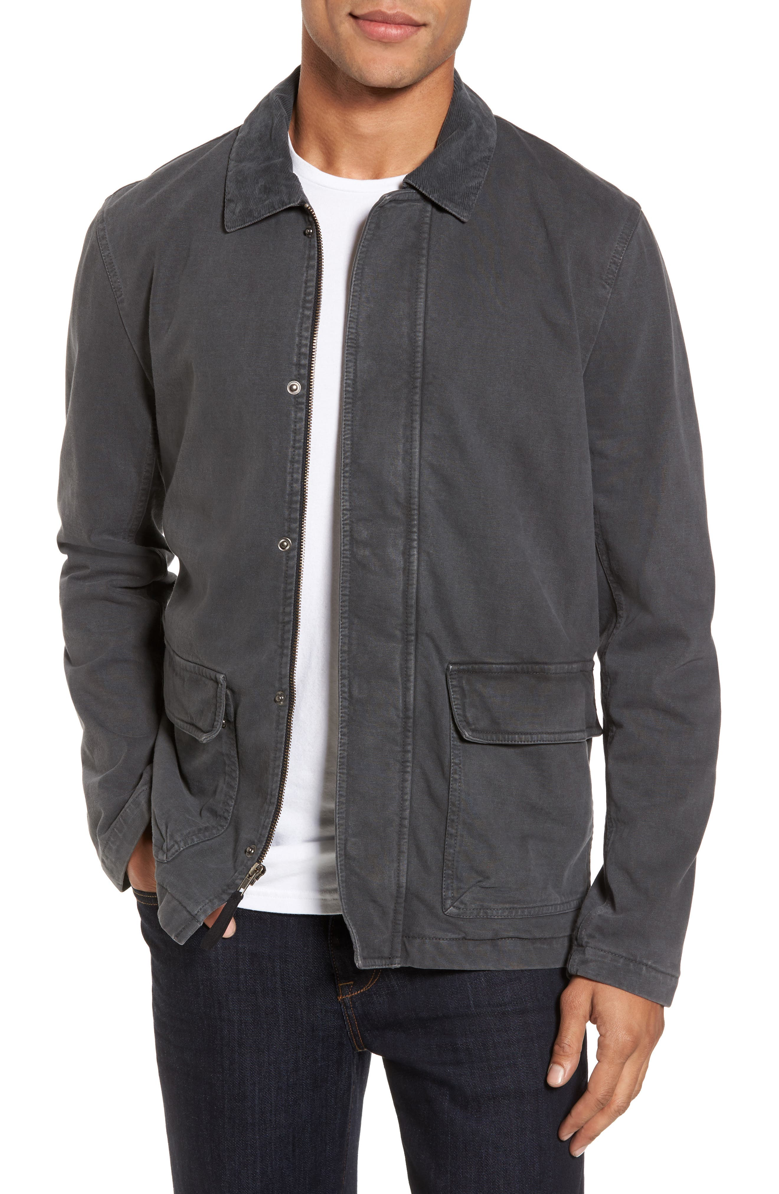 Garment Dyed Field Jacket,                         Main,                         color, Carbon Pigment