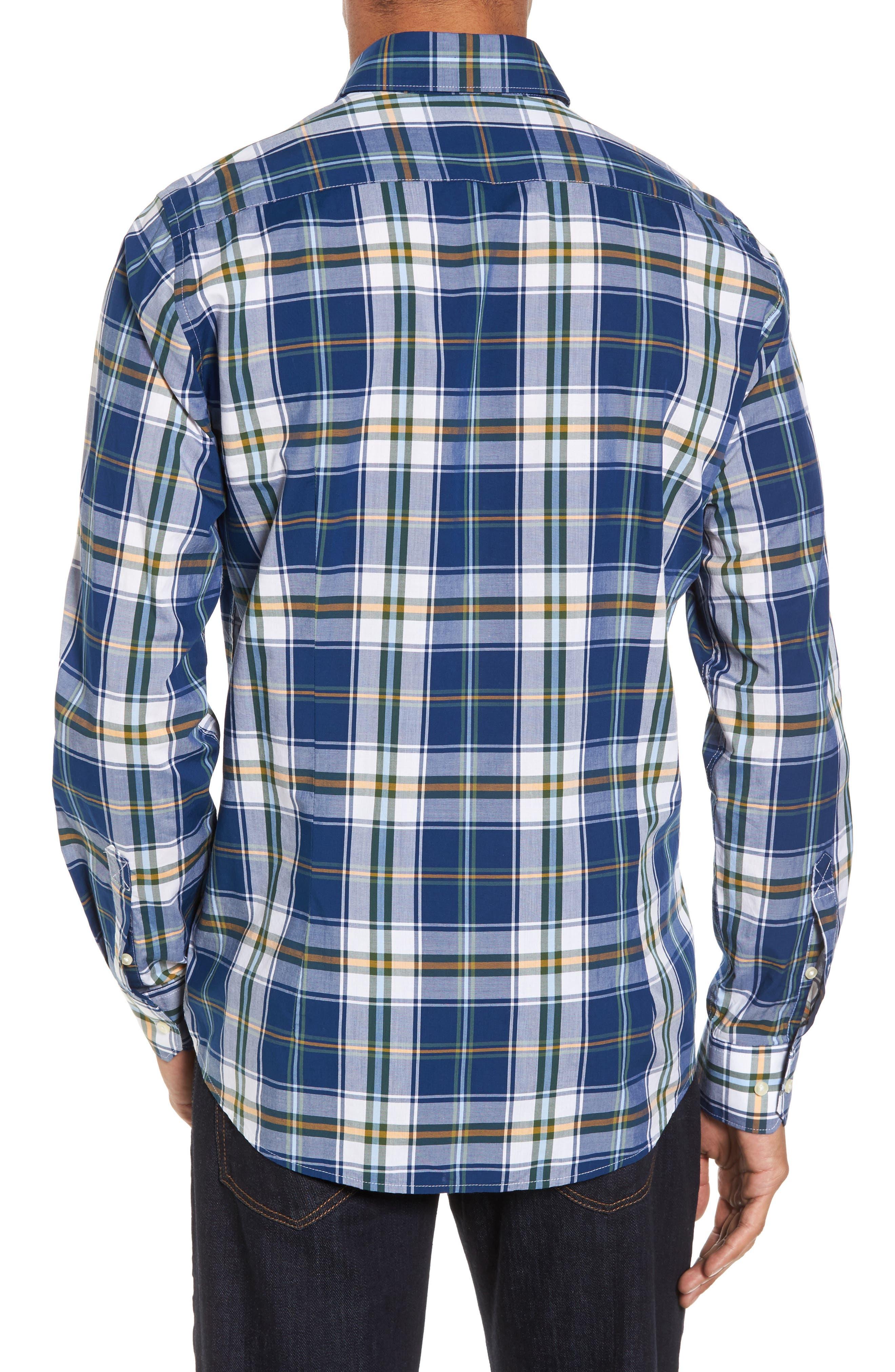 Jeff Trim Fit Plaid Sport Shirt,                             Alternate thumbnail 2, color,                             Deep Blue