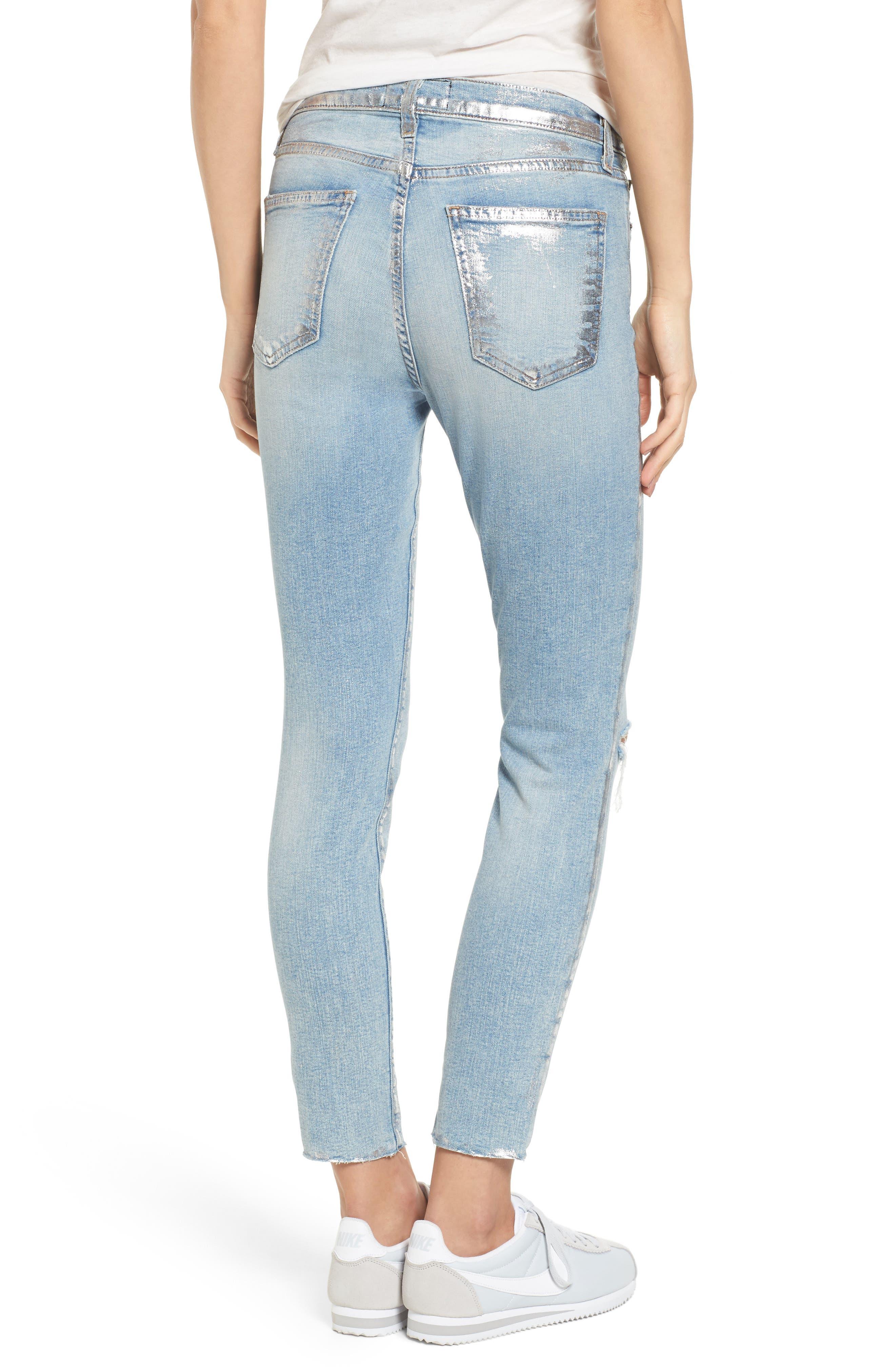 The Stiletto High Waist Skinny Jeans,                             Alternate thumbnail 2, color,                             Seville Destroy/ Foil