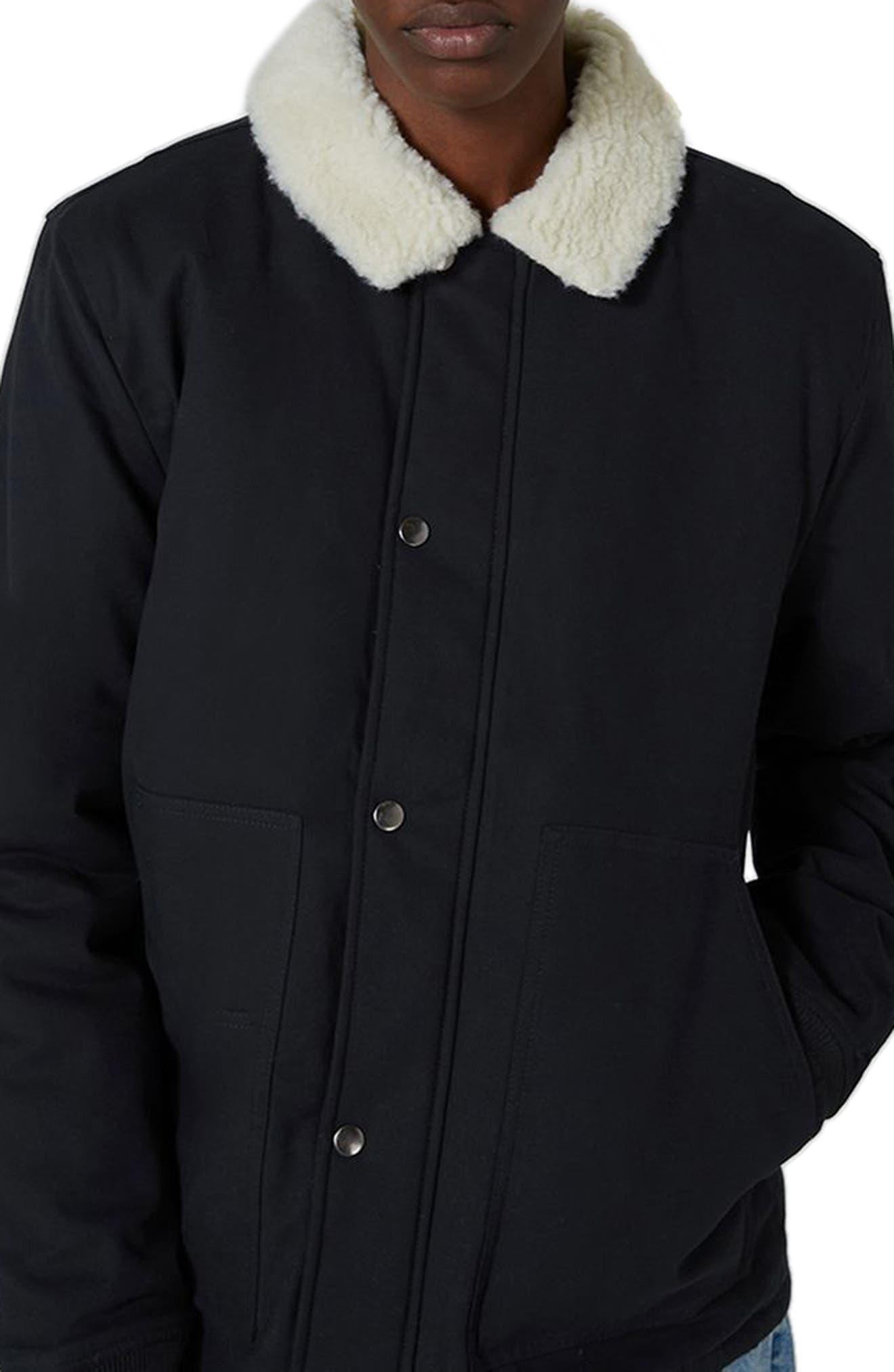 Borg Collar Coach Jacket,                             Alternate thumbnail 3, color,                             Dark Blue