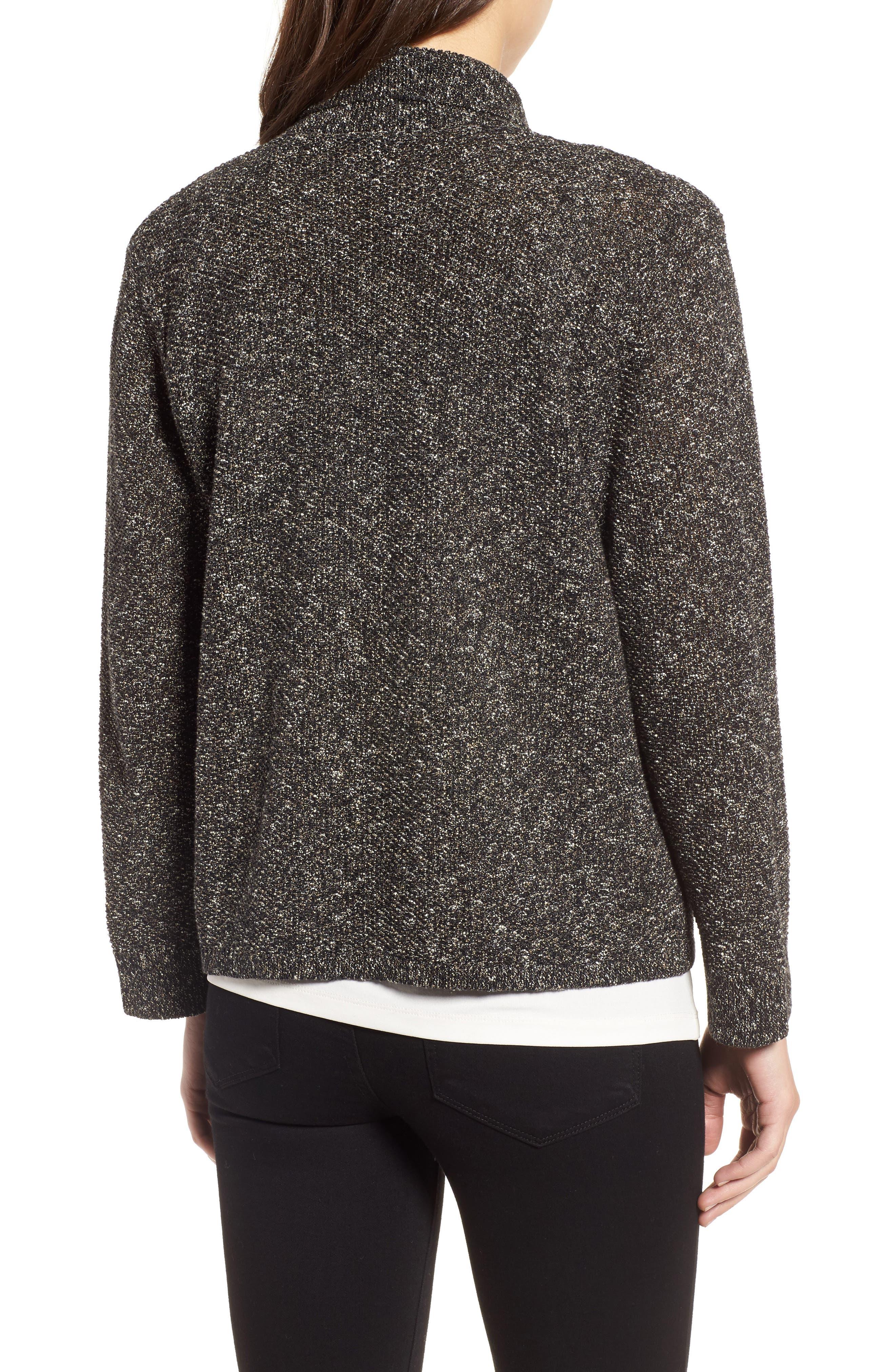 Tweed Sweater Jacket,                             Alternate thumbnail 2, color,                             Black