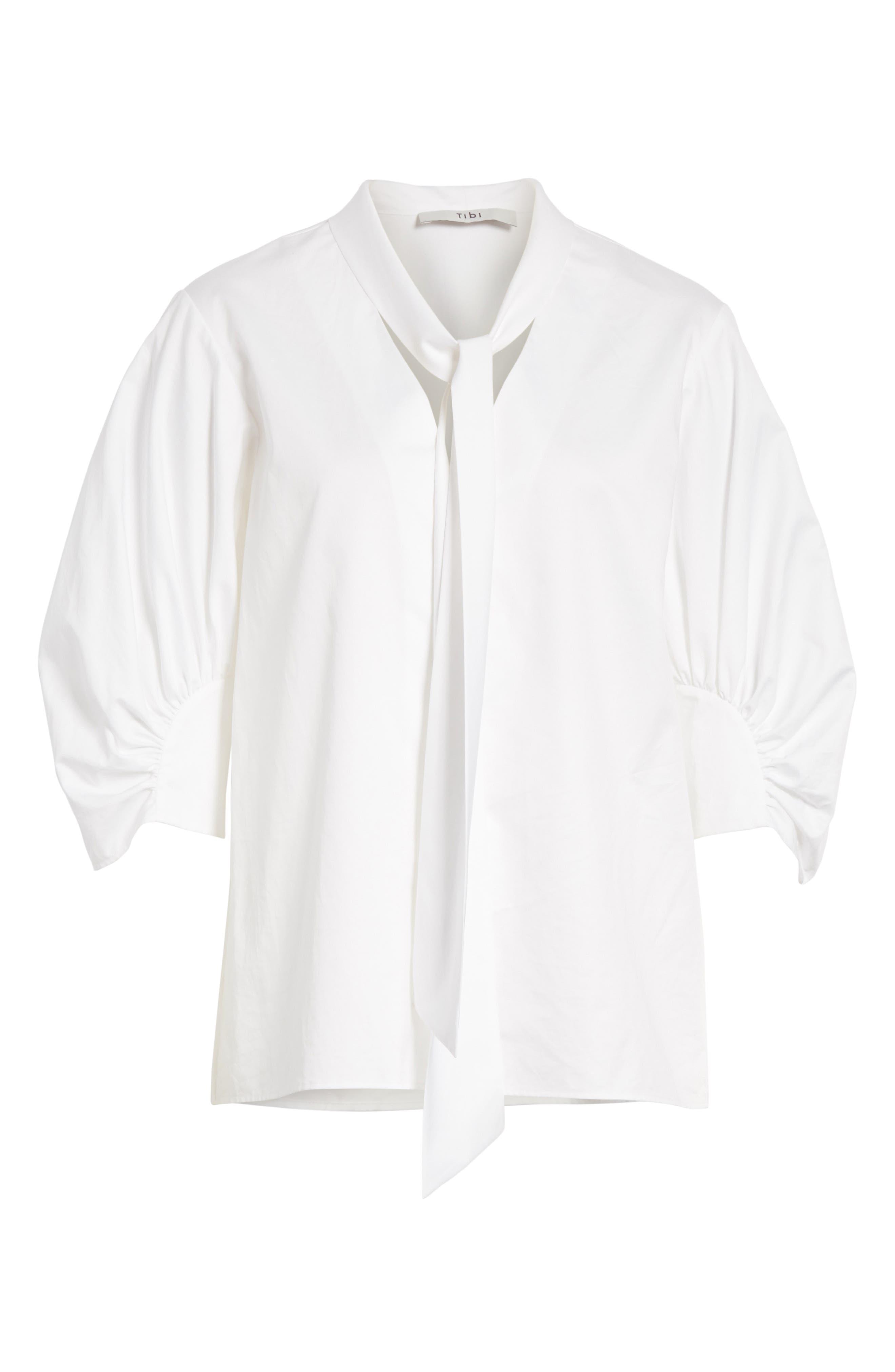 Tie Neck Cotton Top,                             Alternate thumbnail 6, color,                             White