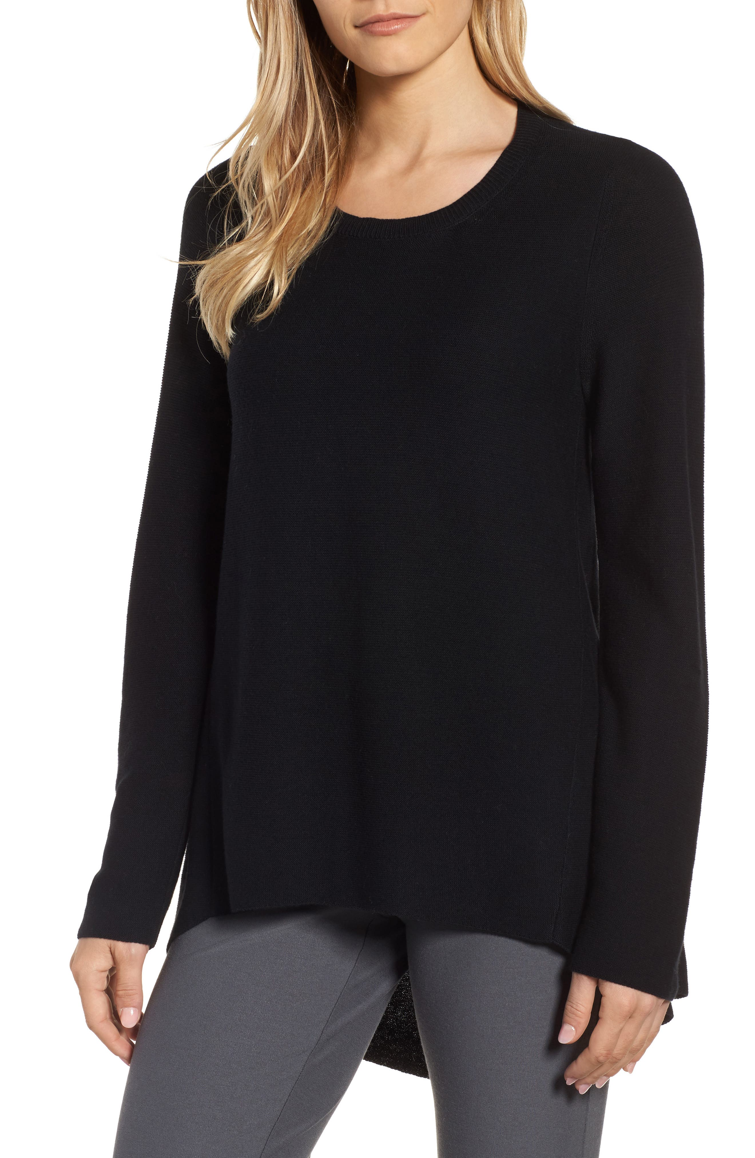 Organic Cotton Tunic Sweater,                         Main,                         color, Black
