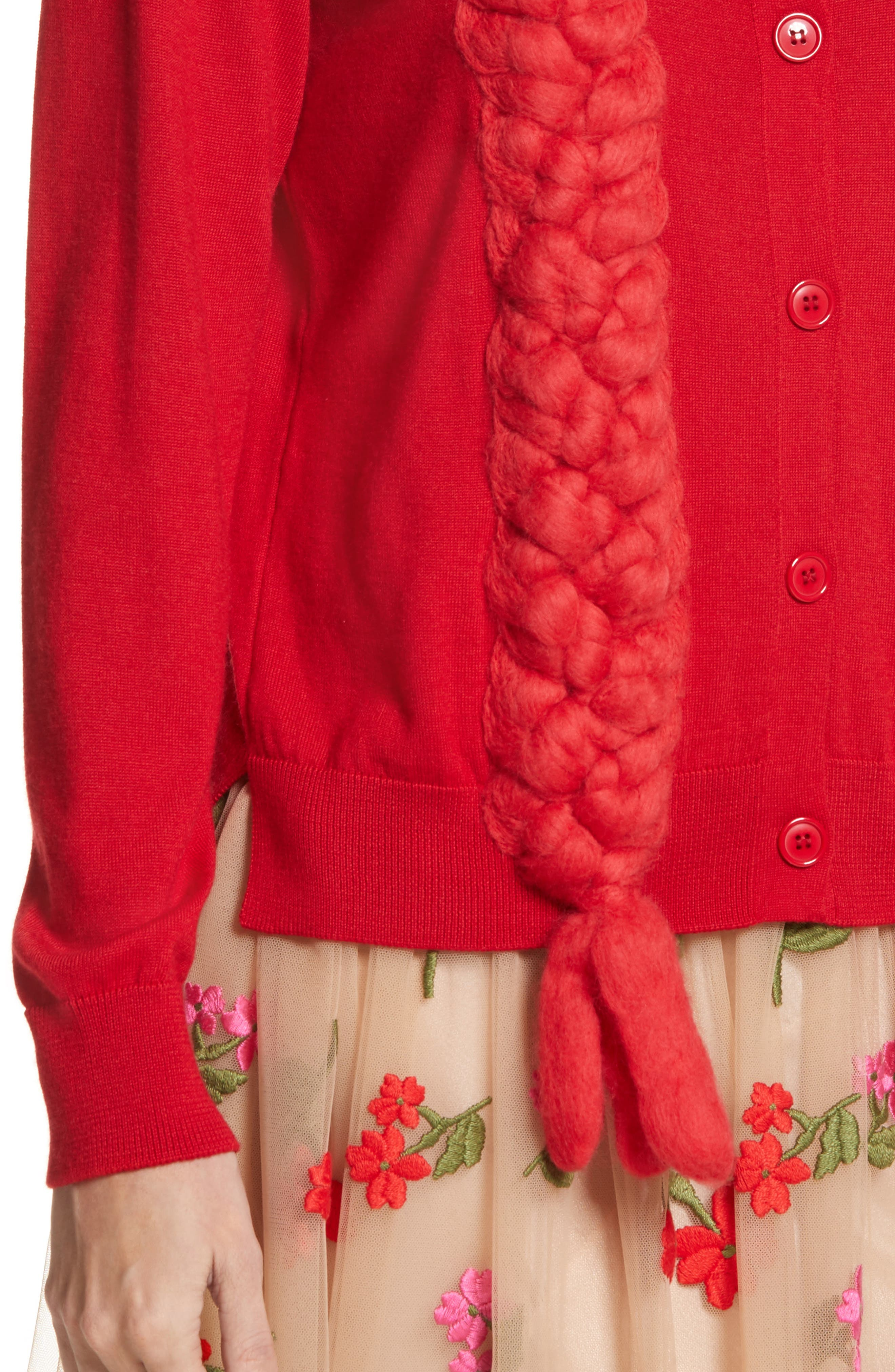 Felted Plait Merino, Silk & Cashmere Button Cardigan,                             Alternate thumbnail 4, color,                             Red