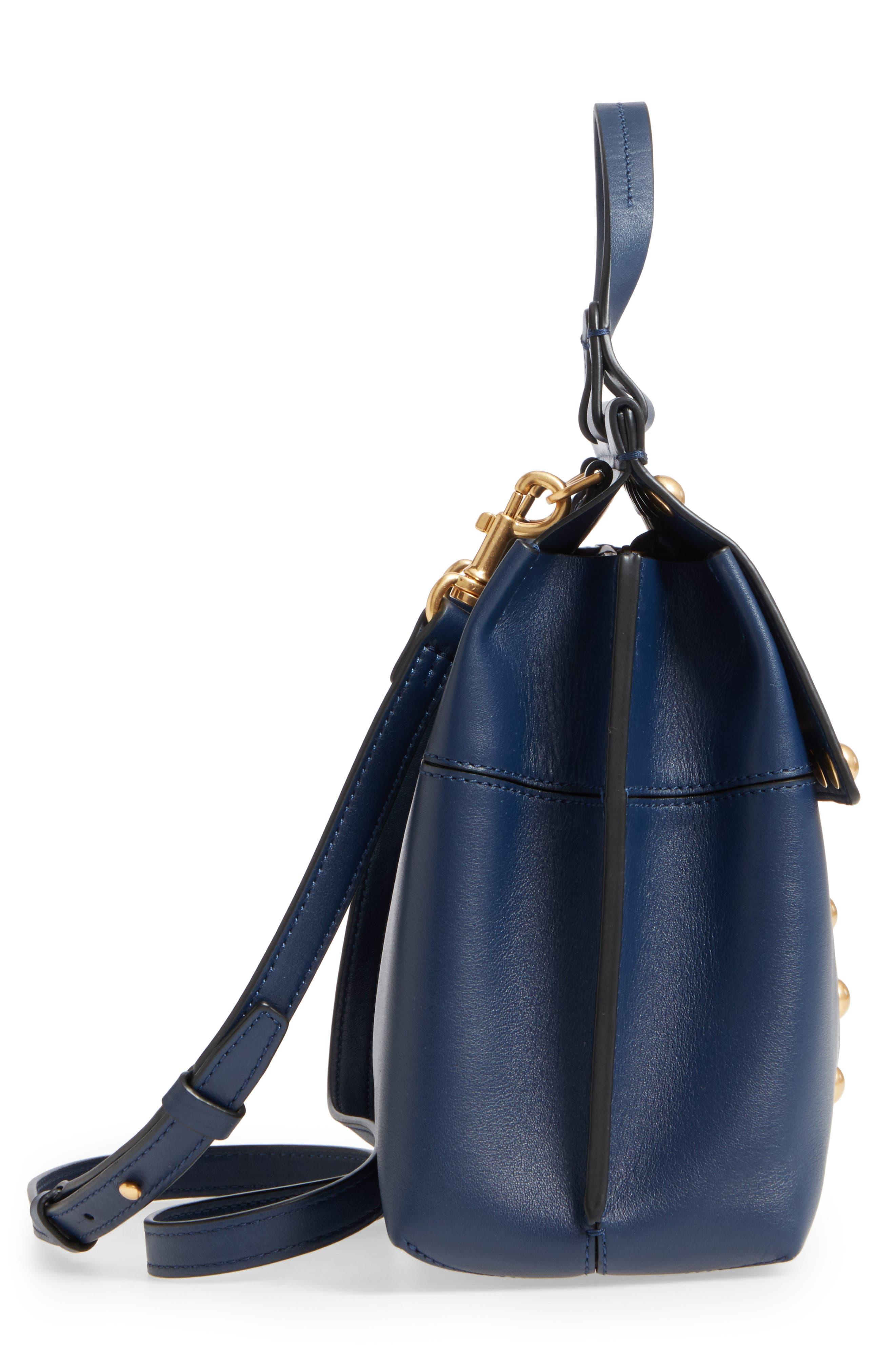 Block-T Studded Leather Top Handle Satchel,                             Alternate thumbnail 5, color,                             Royal Navy