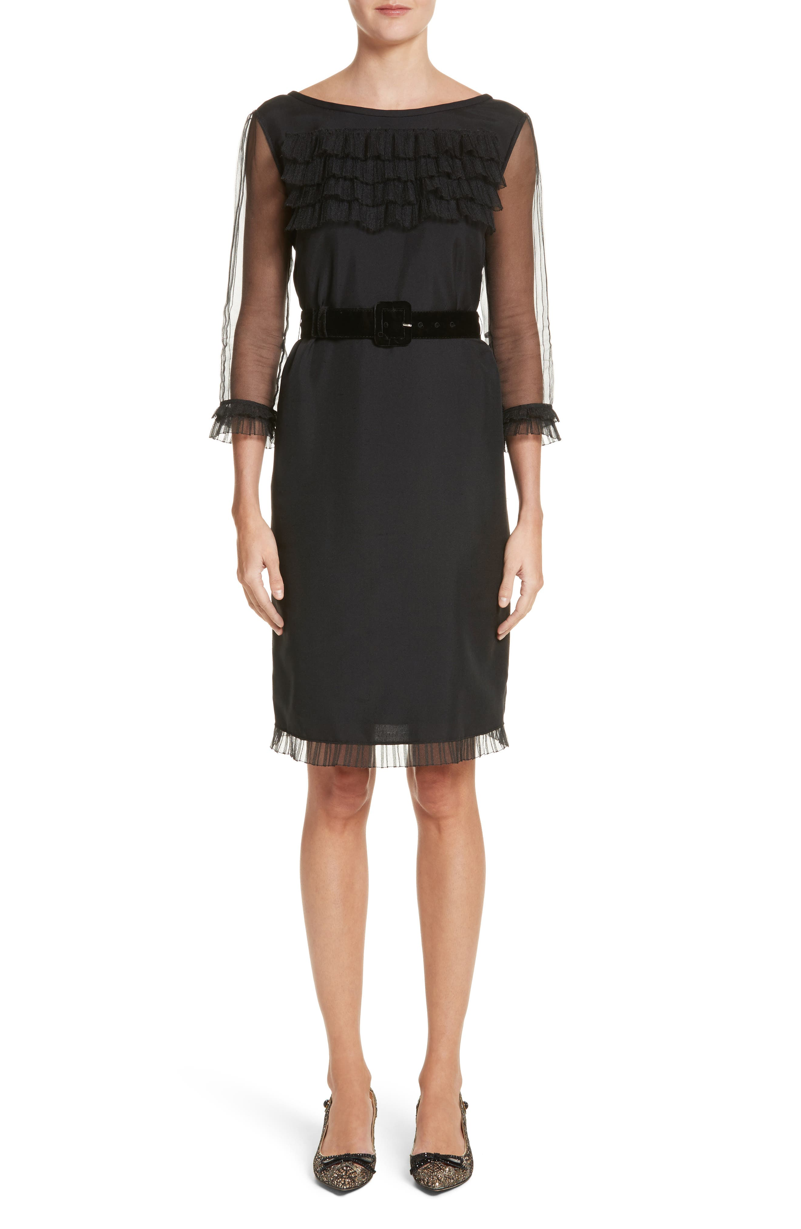 Silk Tulle Ruffle Dress,                         Main,                         color, Black