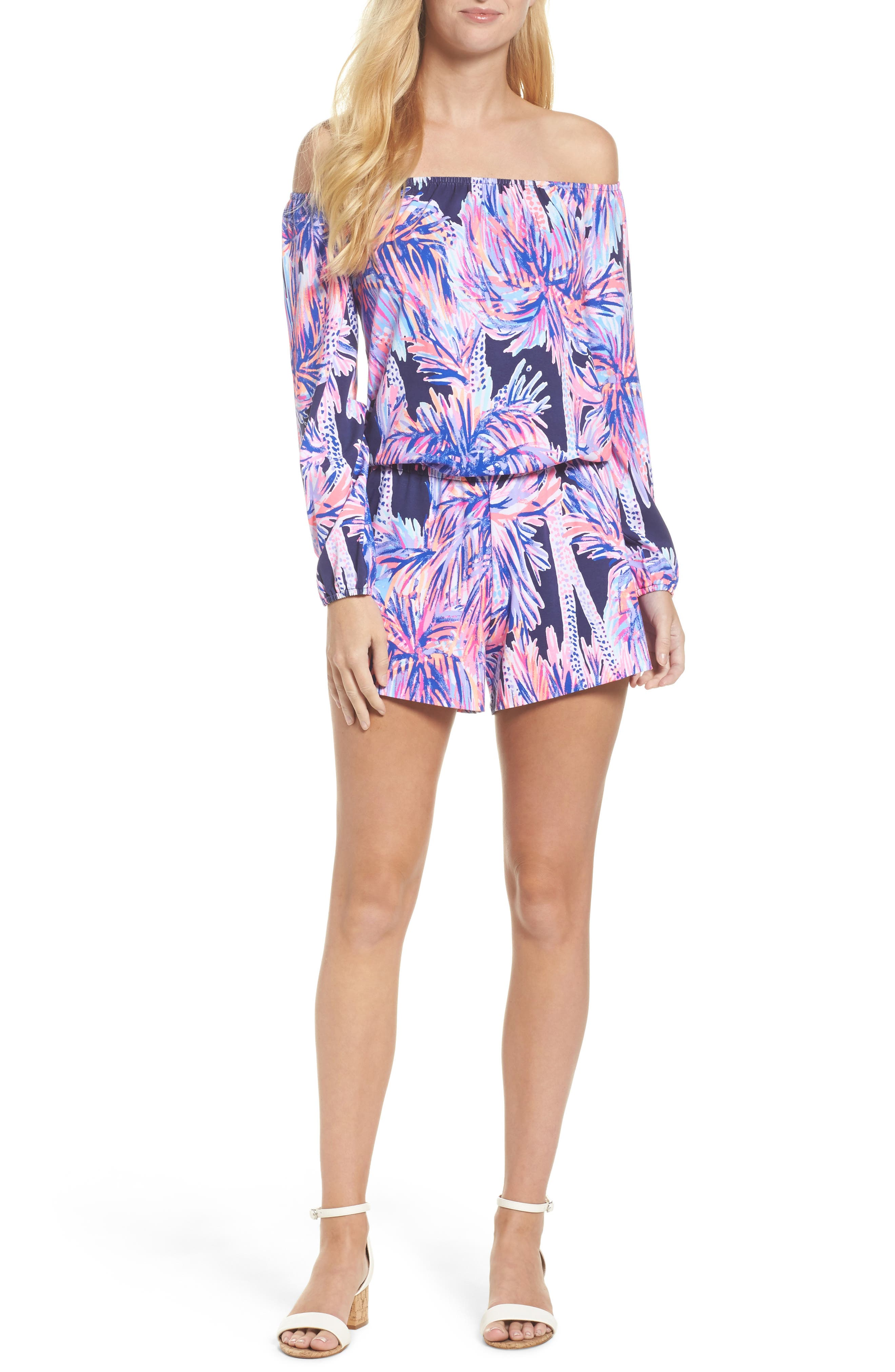 Lana Off the Shoulder Romper,                             Main thumbnail 1, color,                             Bright Navy Palms Up