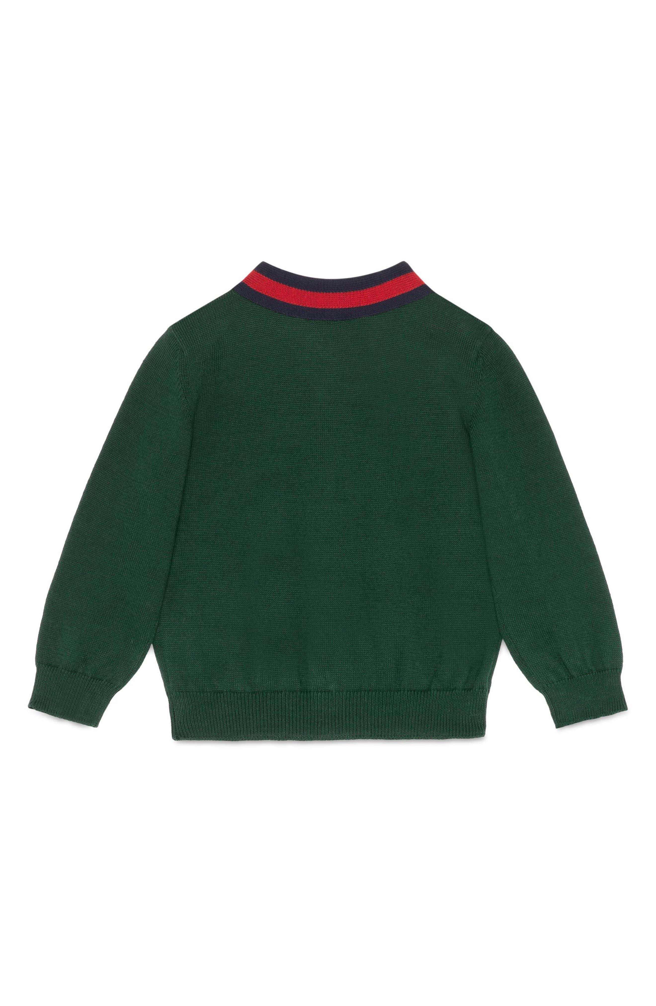 Knit Cotton Cardigan,                             Alternate thumbnail 2, color,                             Gucci Green