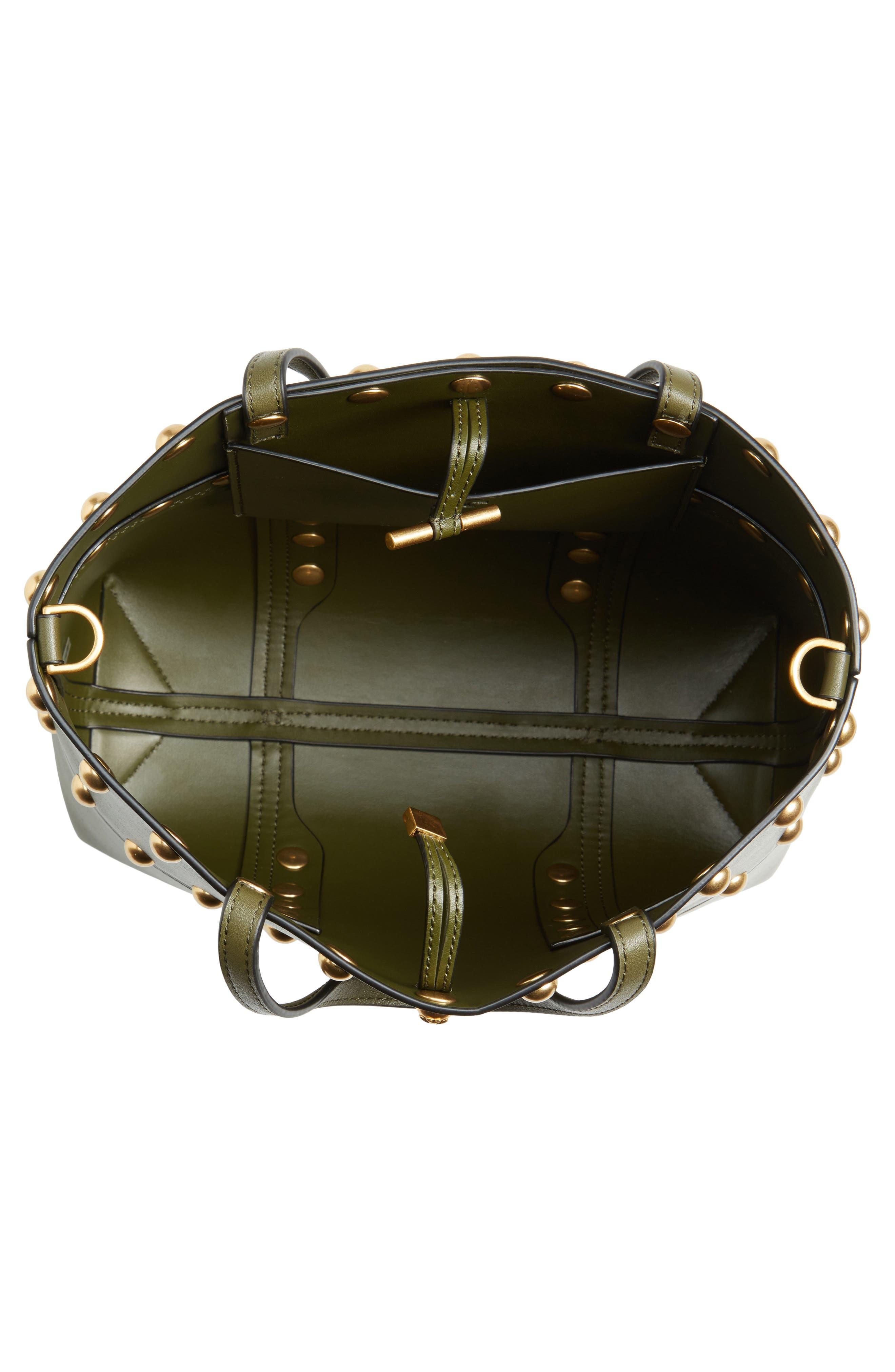 Block-T Mini Studded Leather Tote,                             Alternate thumbnail 3, color,                             Leccio