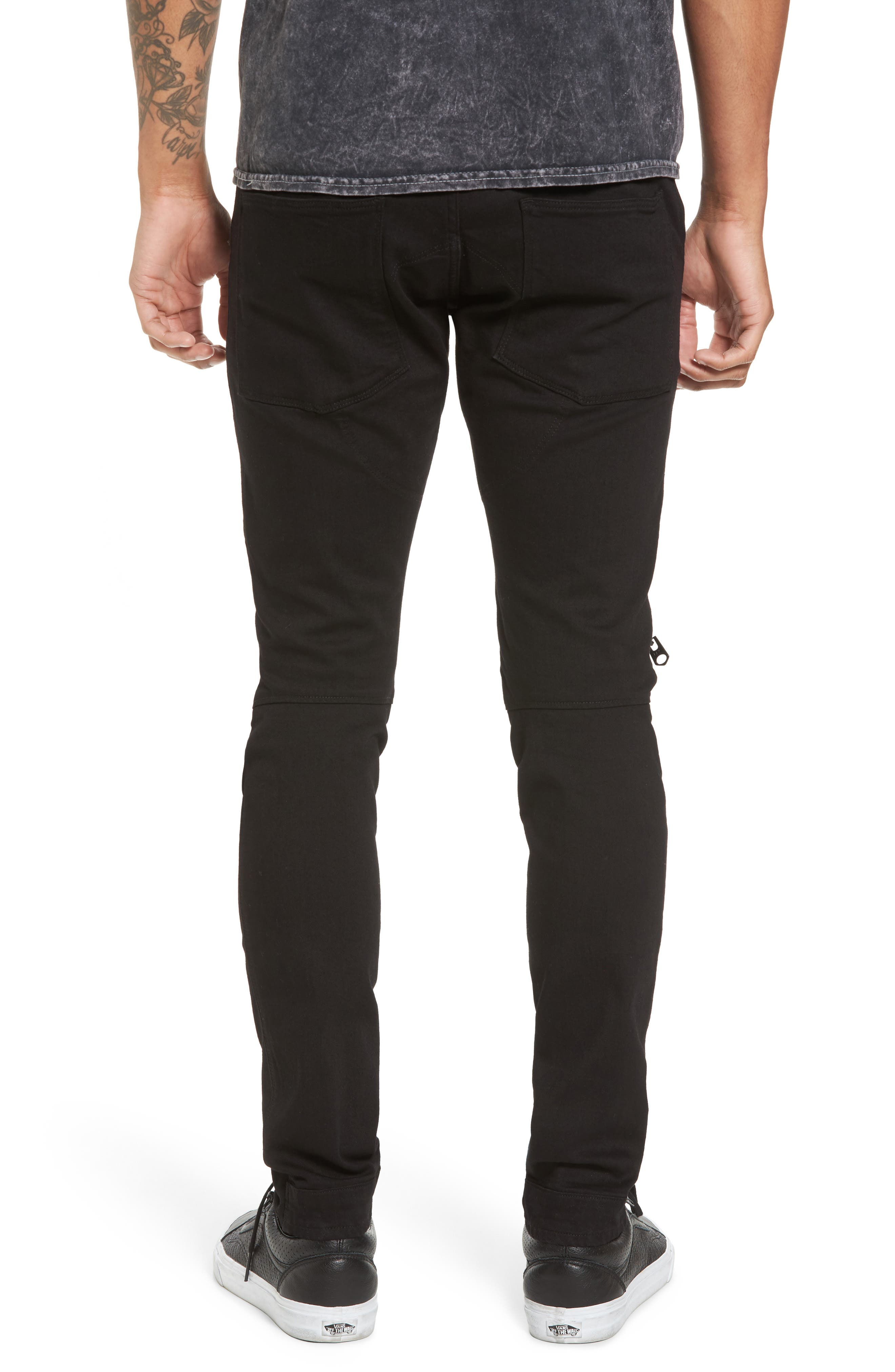 3D Zip Knee Super Slim Pants,                             Alternate thumbnail 2, color,                             Rinsed