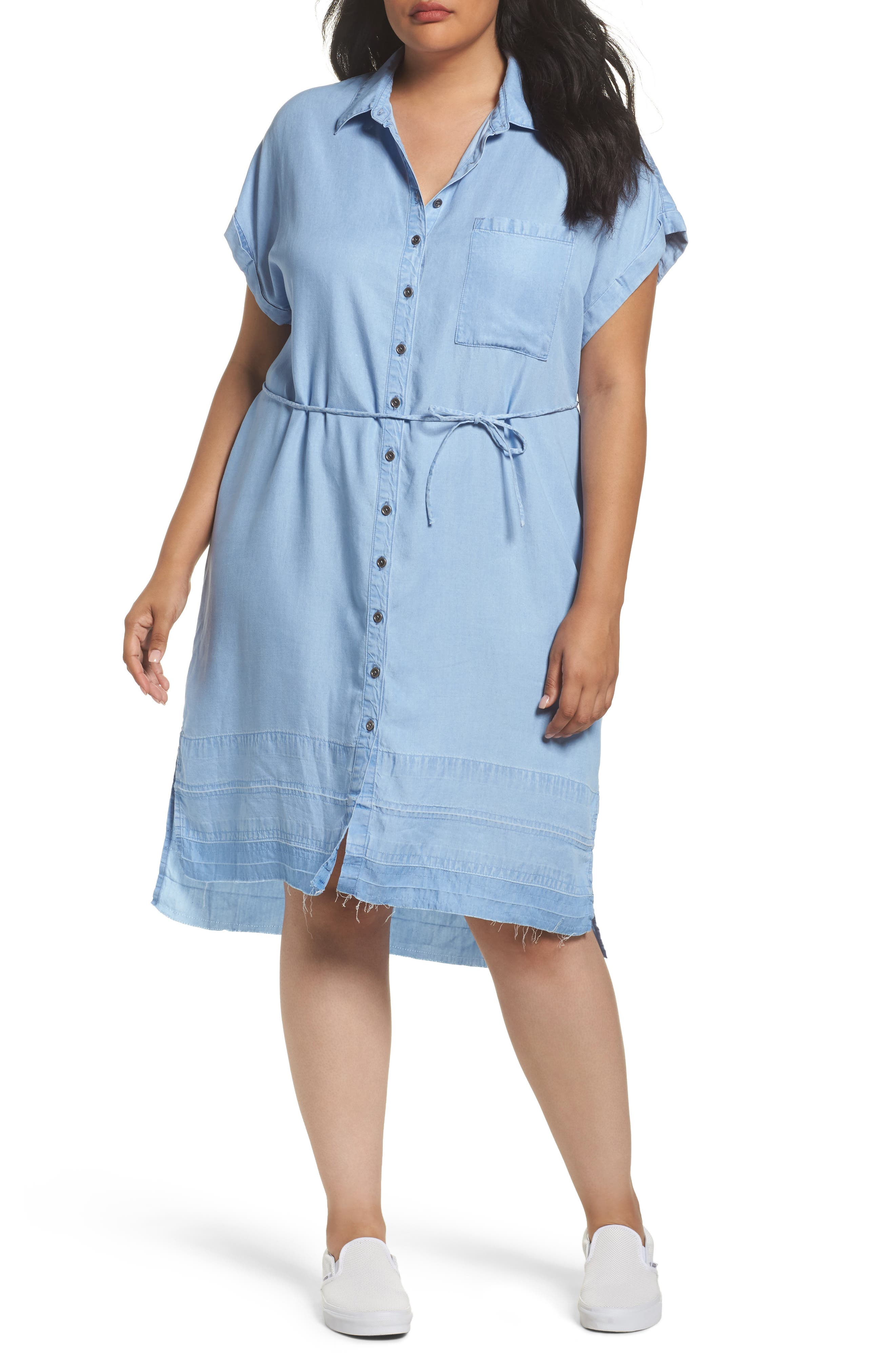 Alternate Image 1 Selected - Rebel Wilson x Angels Chambray Button-Up Shirtdress (Plus Size)