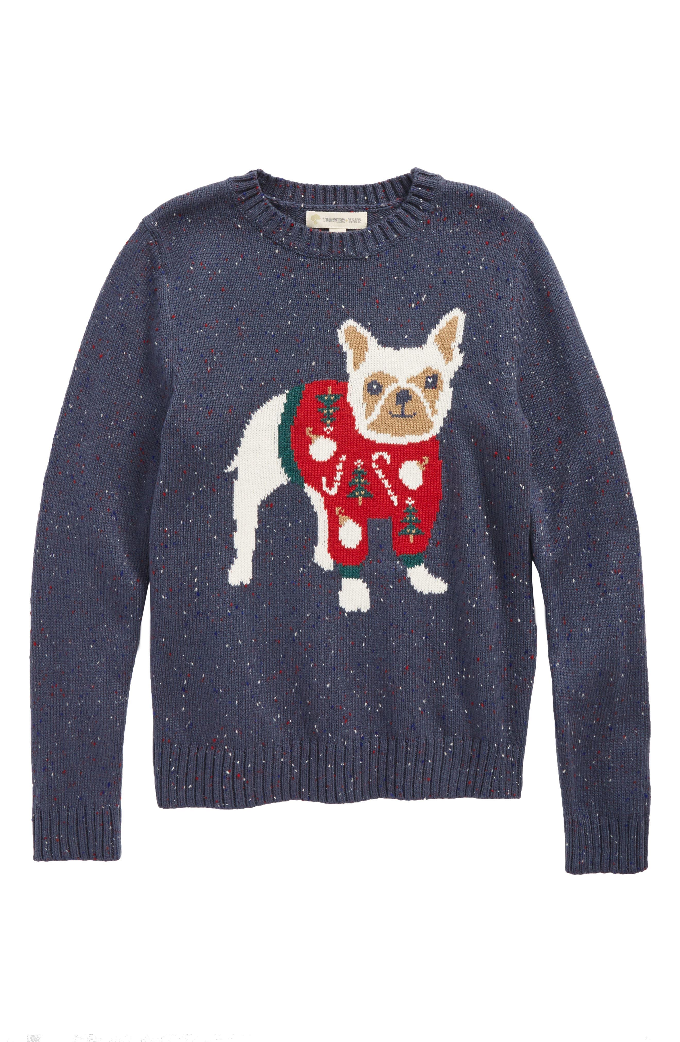 Intarsia Knit Sweater,                         Main,                         color, Navy Armada French Bulldog