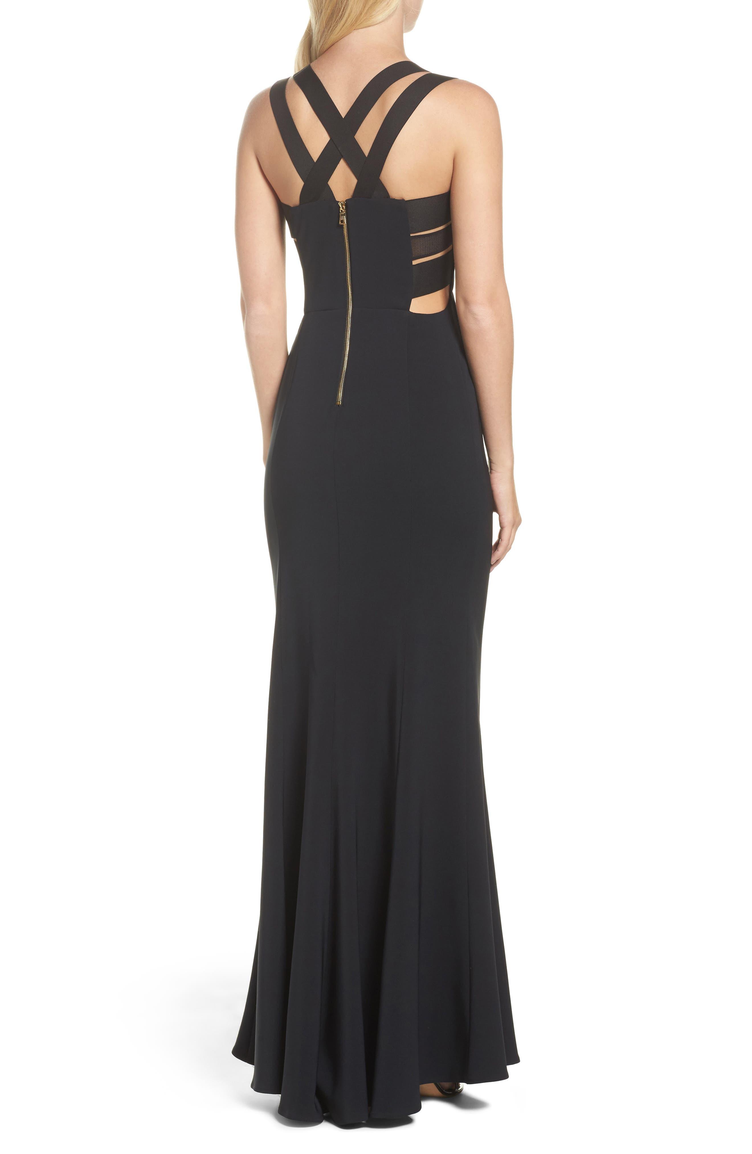 Krista Elastic Strap Cutout Gown,                             Alternate thumbnail 2, color,                             Black