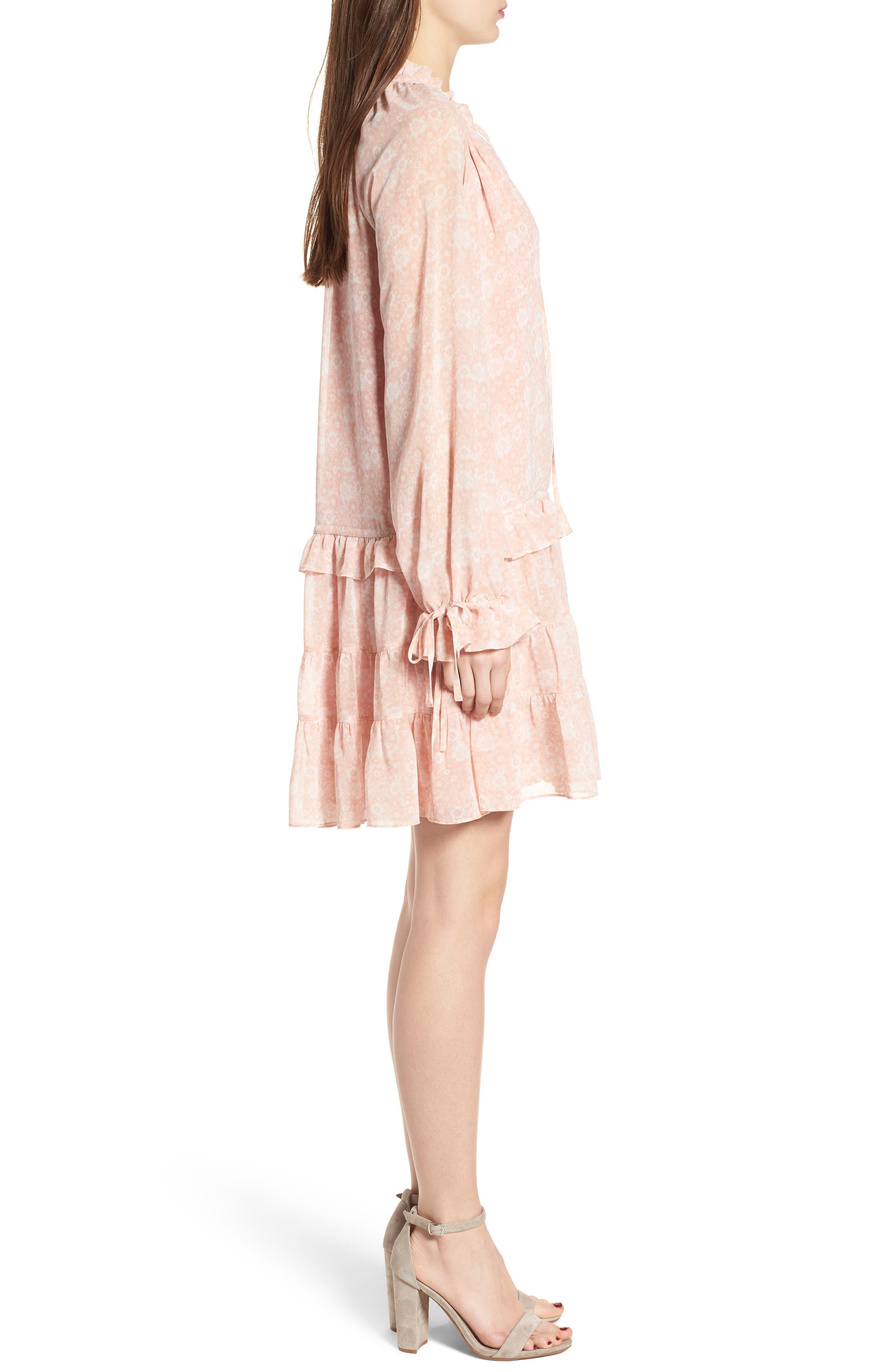 Dylan Drop Waist Dress,                             Alternate thumbnail 3, color,                             Light Pink Multi