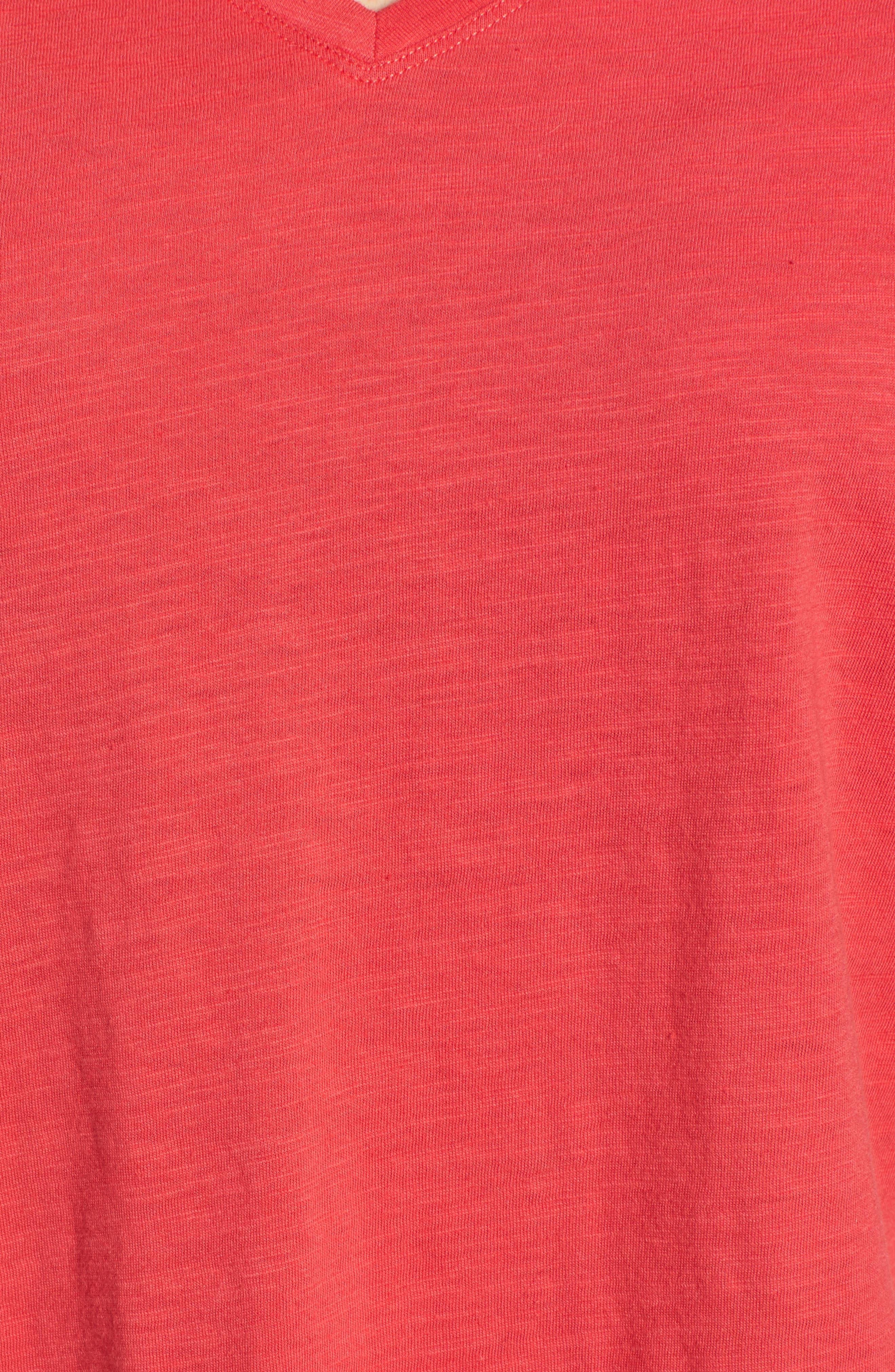 Organic Cotton V-Neck Tee,                             Alternate thumbnail 5, color,                             Strawberry