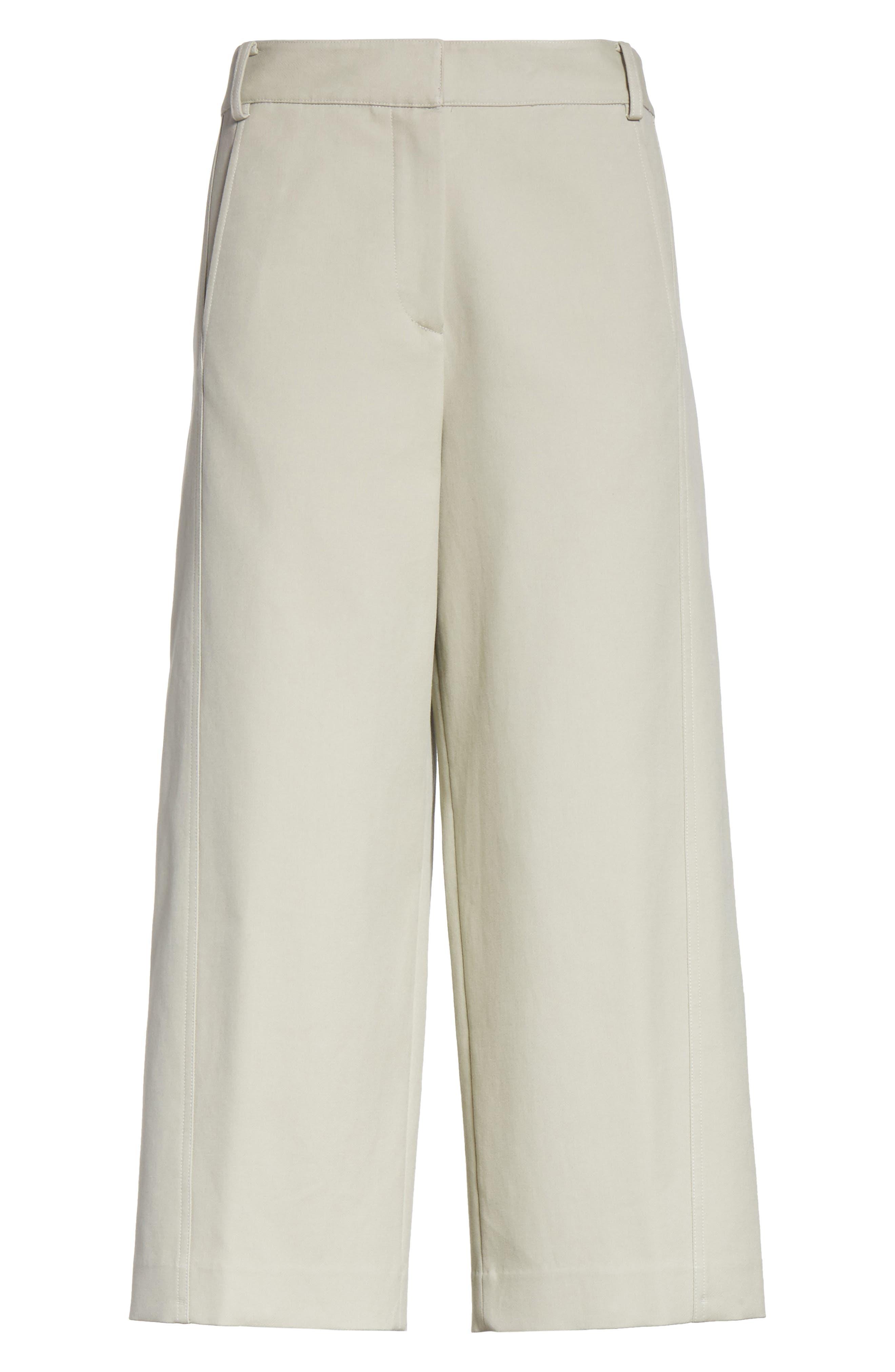 Cropped Cotton Pants,                             Alternate thumbnail 6, color,                             Moss