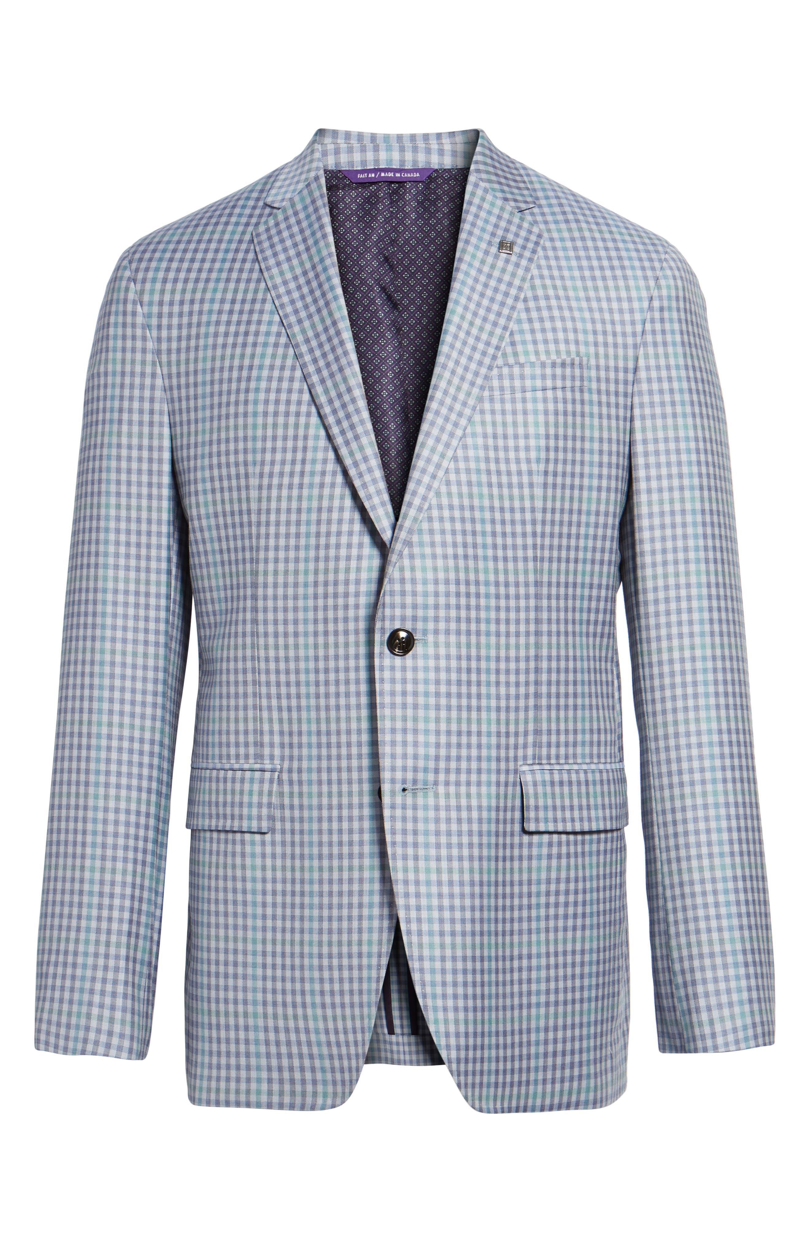 Konan Trim Fit Check Wool Sport Coat,                             Alternate thumbnail 6, color,                             Blue Grey Green Ck