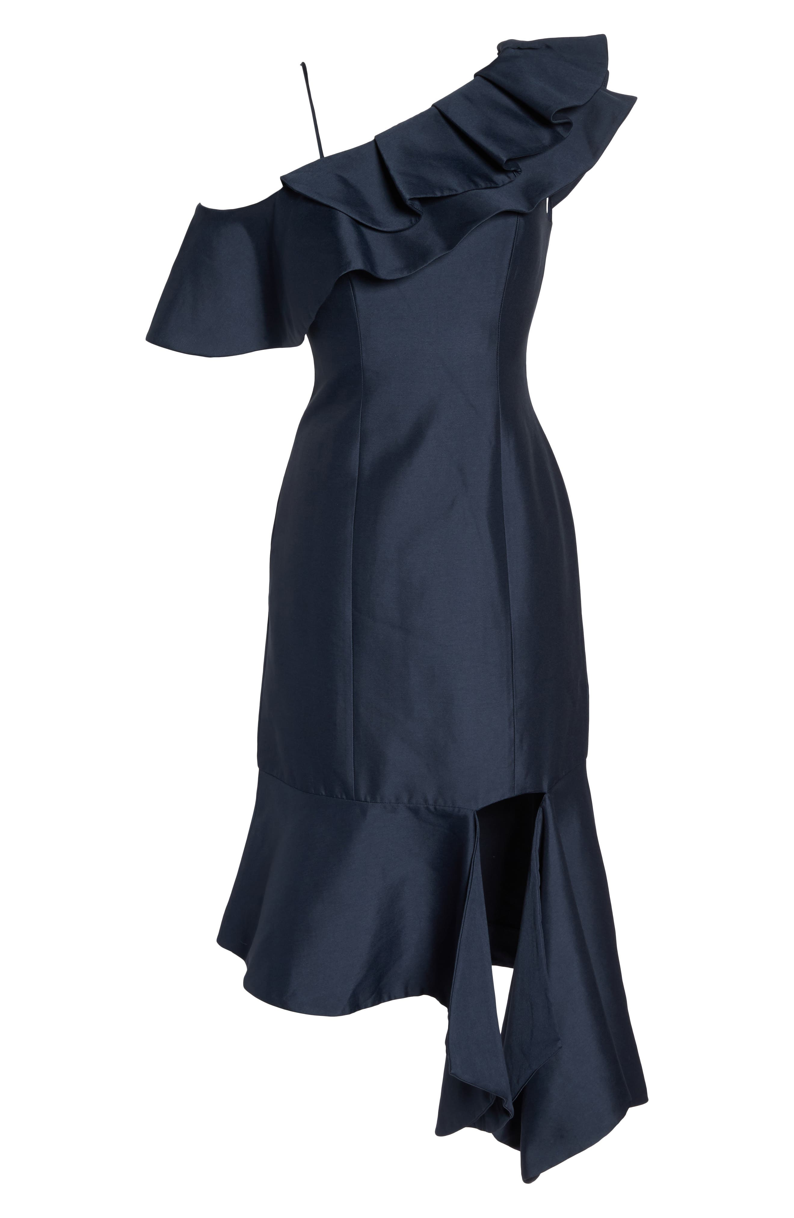 Night Lights Midi Dress,                             Alternate thumbnail 6, color,                             Navy