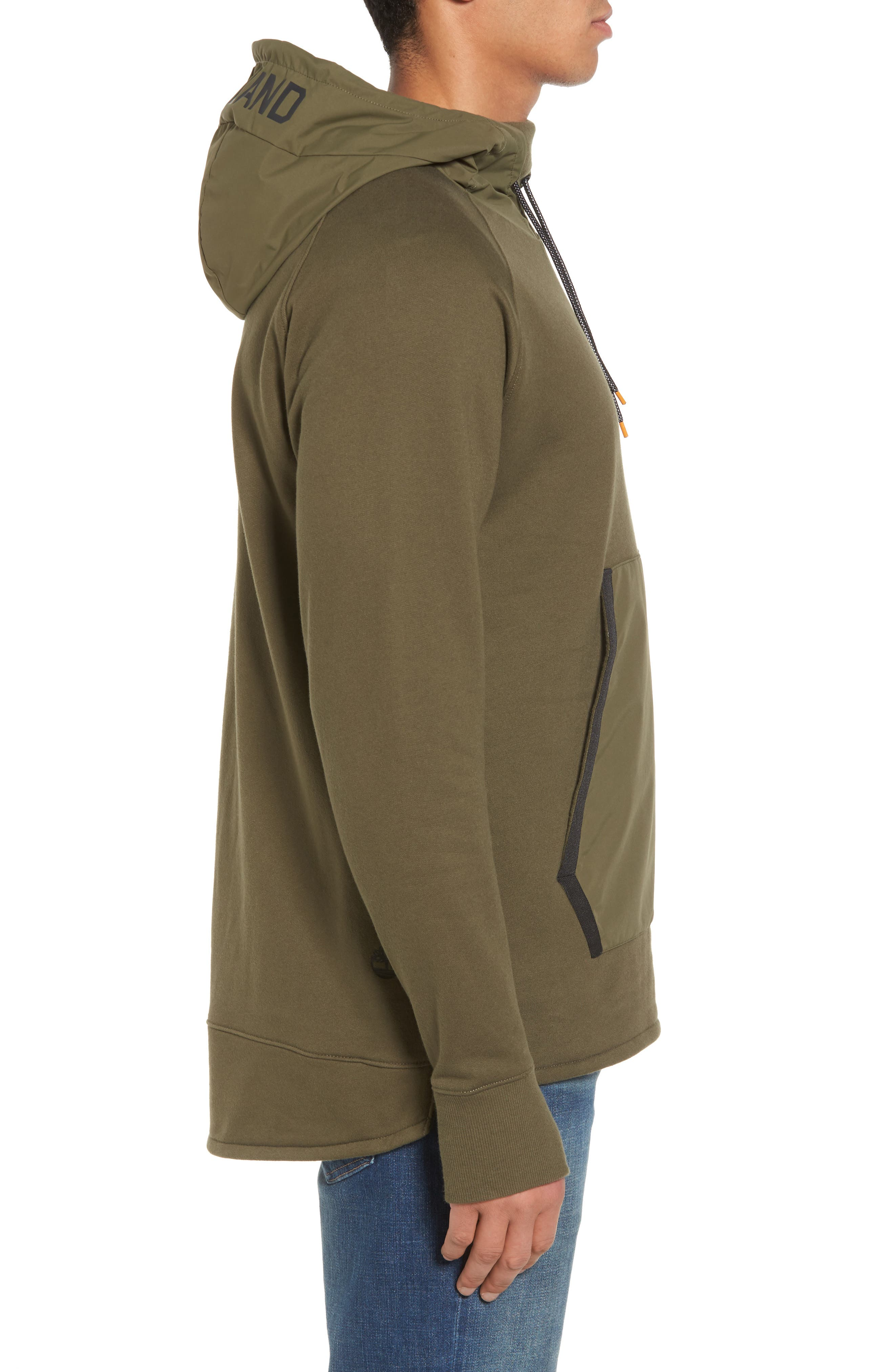 Mixed Media Oversize Hoodie,                             Alternate thumbnail 3, color,                             Olive Night