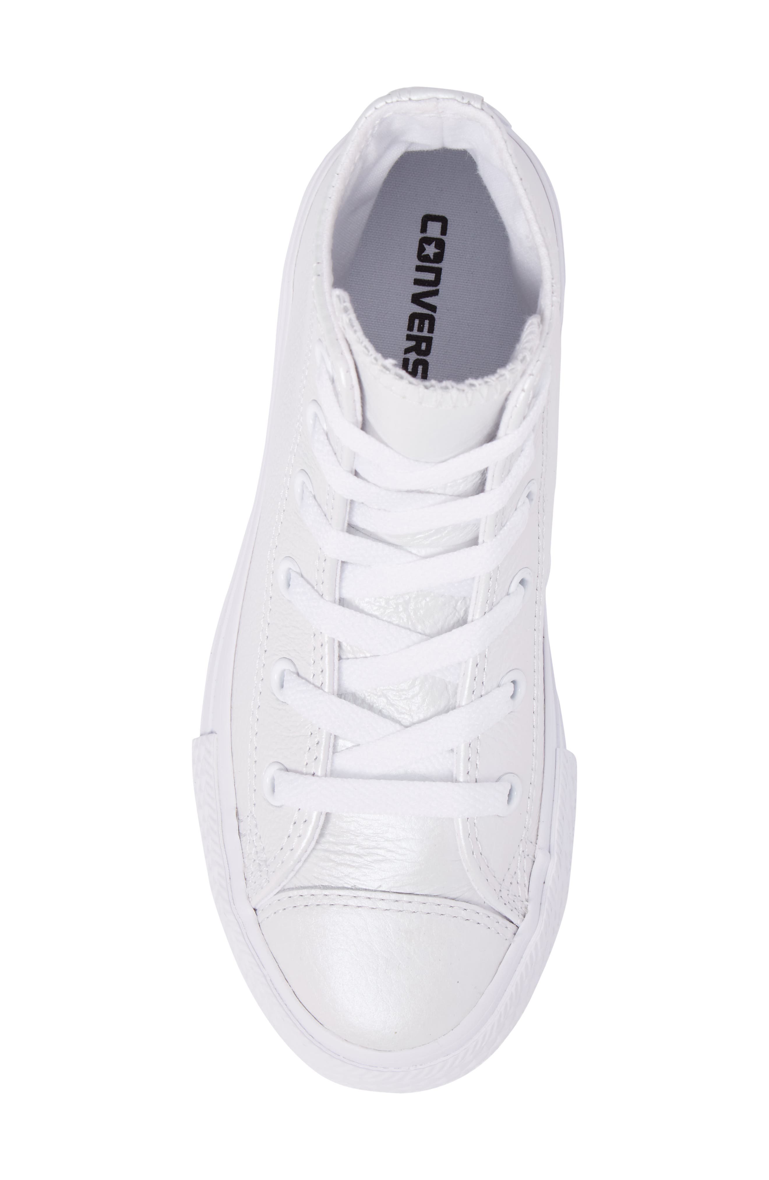 Chuck Taylor<sup>®</sup> All Star<sup>®</sup> Iridescent Leather High Top Sneaker,                             Alternate thumbnail 5, color,                             White Leather