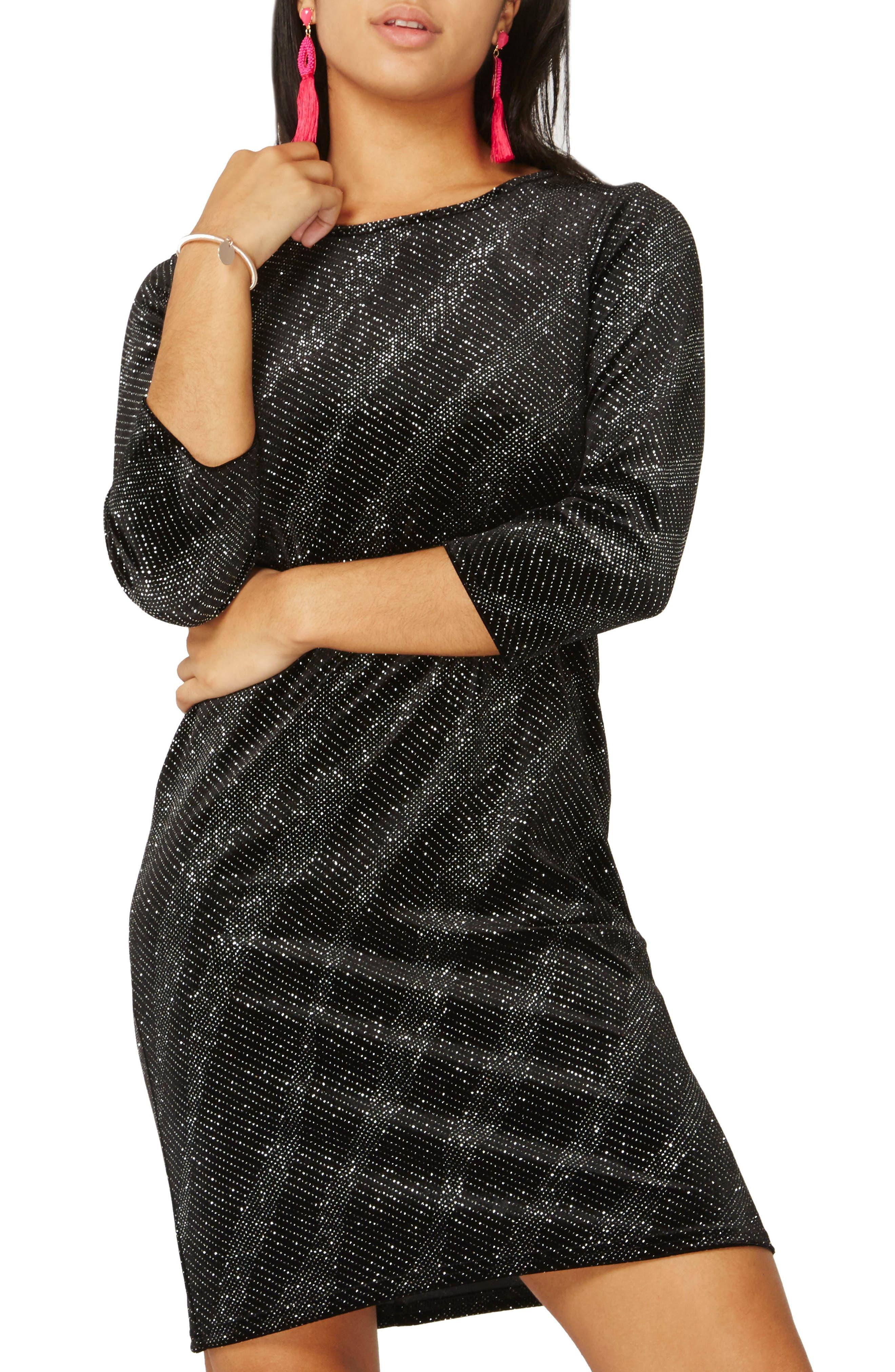 Metallic Shift Dress,                         Main,                         color, Black